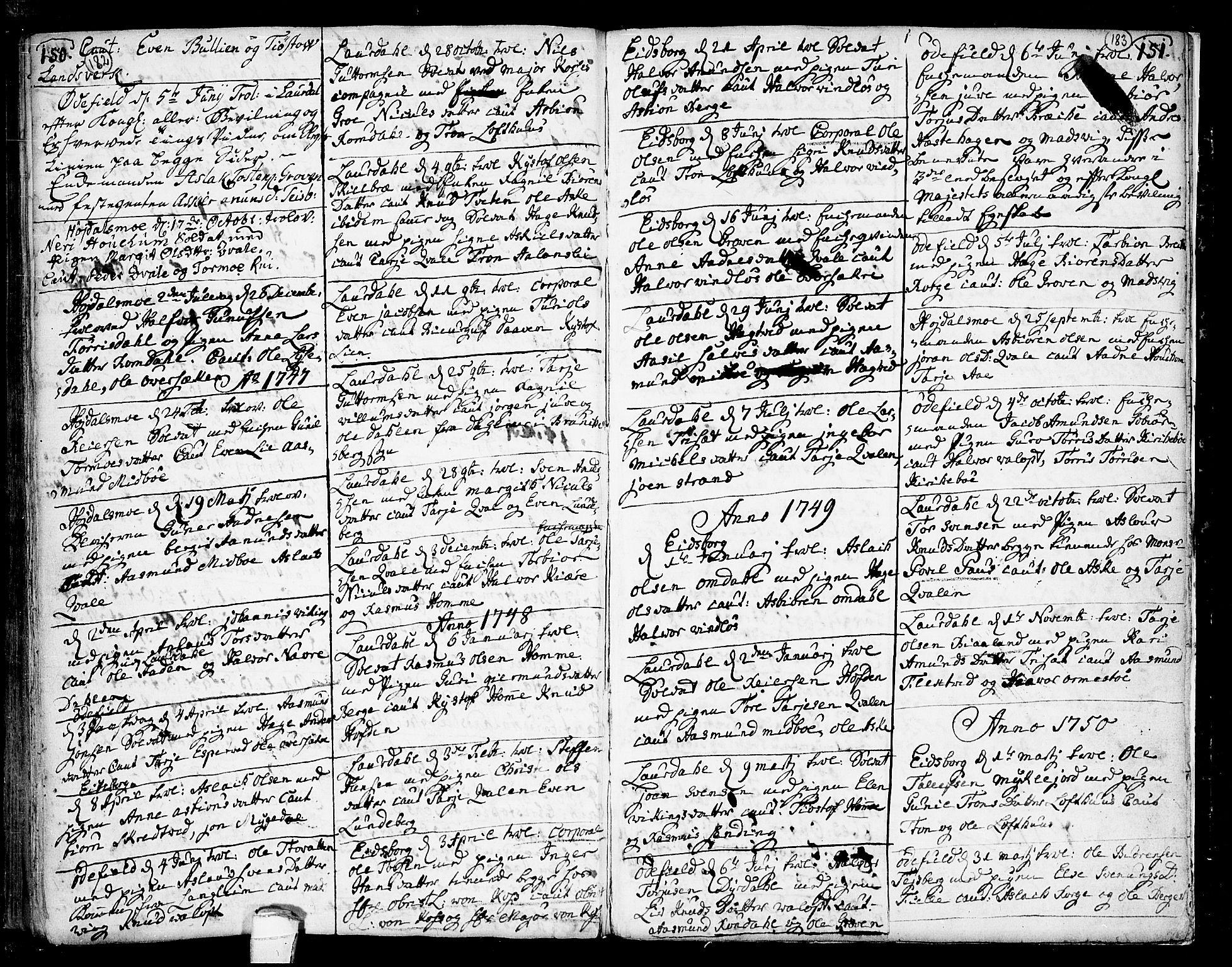 SAKO, Lårdal kirkebøker, F/Fa/L0002: Ministerialbok nr. I 2, 1734-1754, s. 182-183