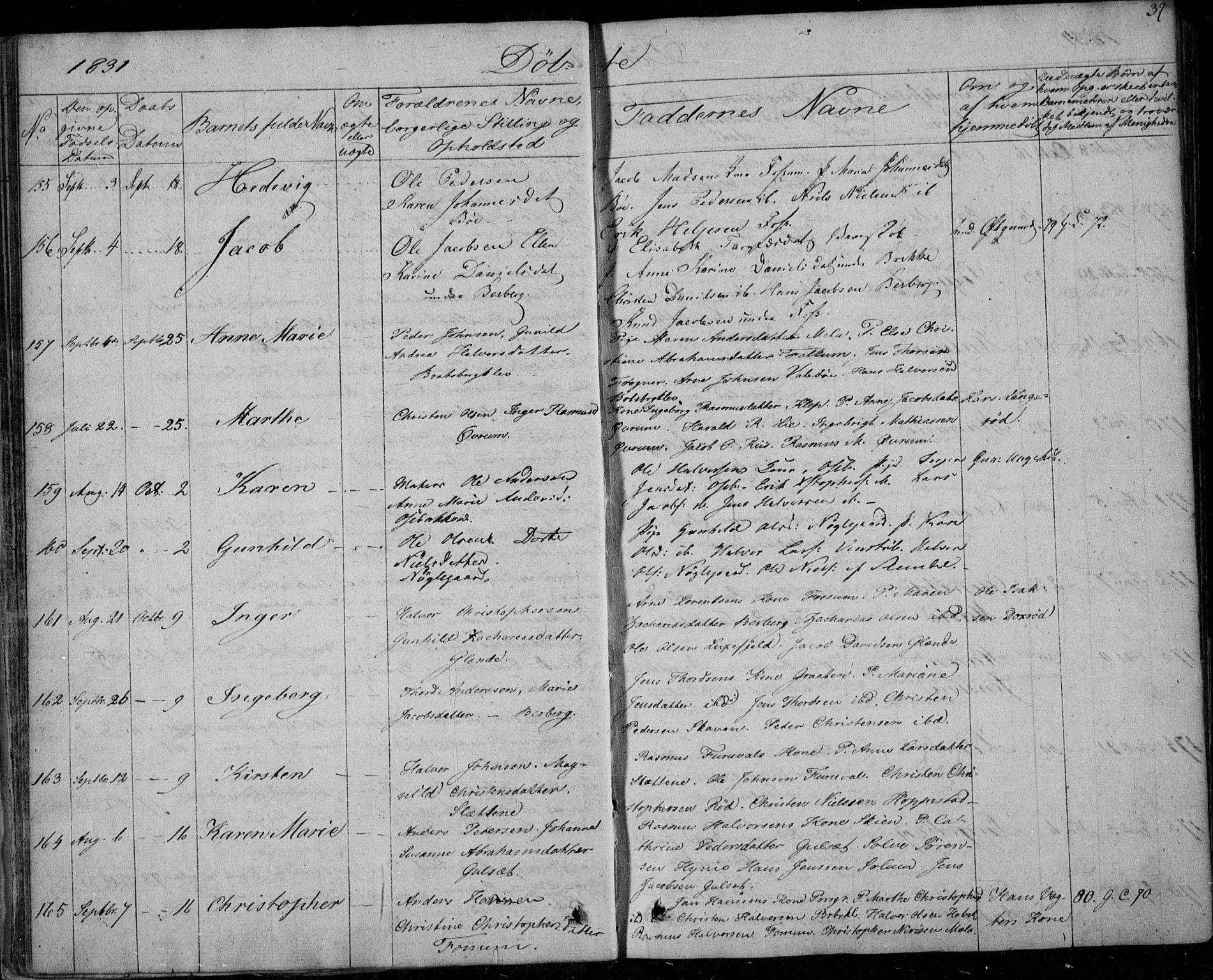 SAKO, Gjerpen kirkebøker, F/Fa/L0006: Ministerialbok nr. 6, 1829-1834, s. 37