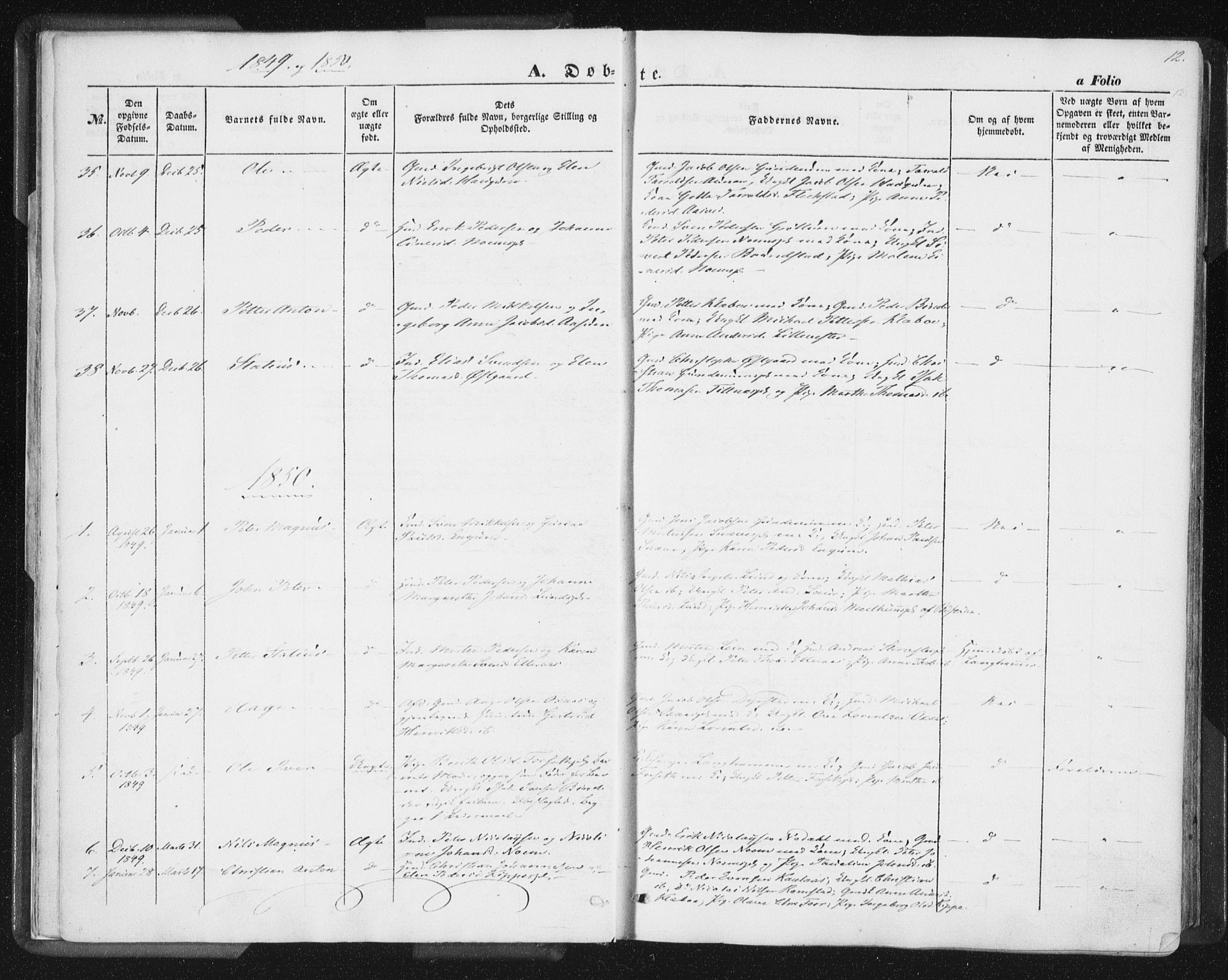 SAT, Ministerialprotokoller, klokkerbøker og fødselsregistre - Nord-Trøndelag, 746/L0446: Ministerialbok nr. 746A05, 1846-1859, s. 12