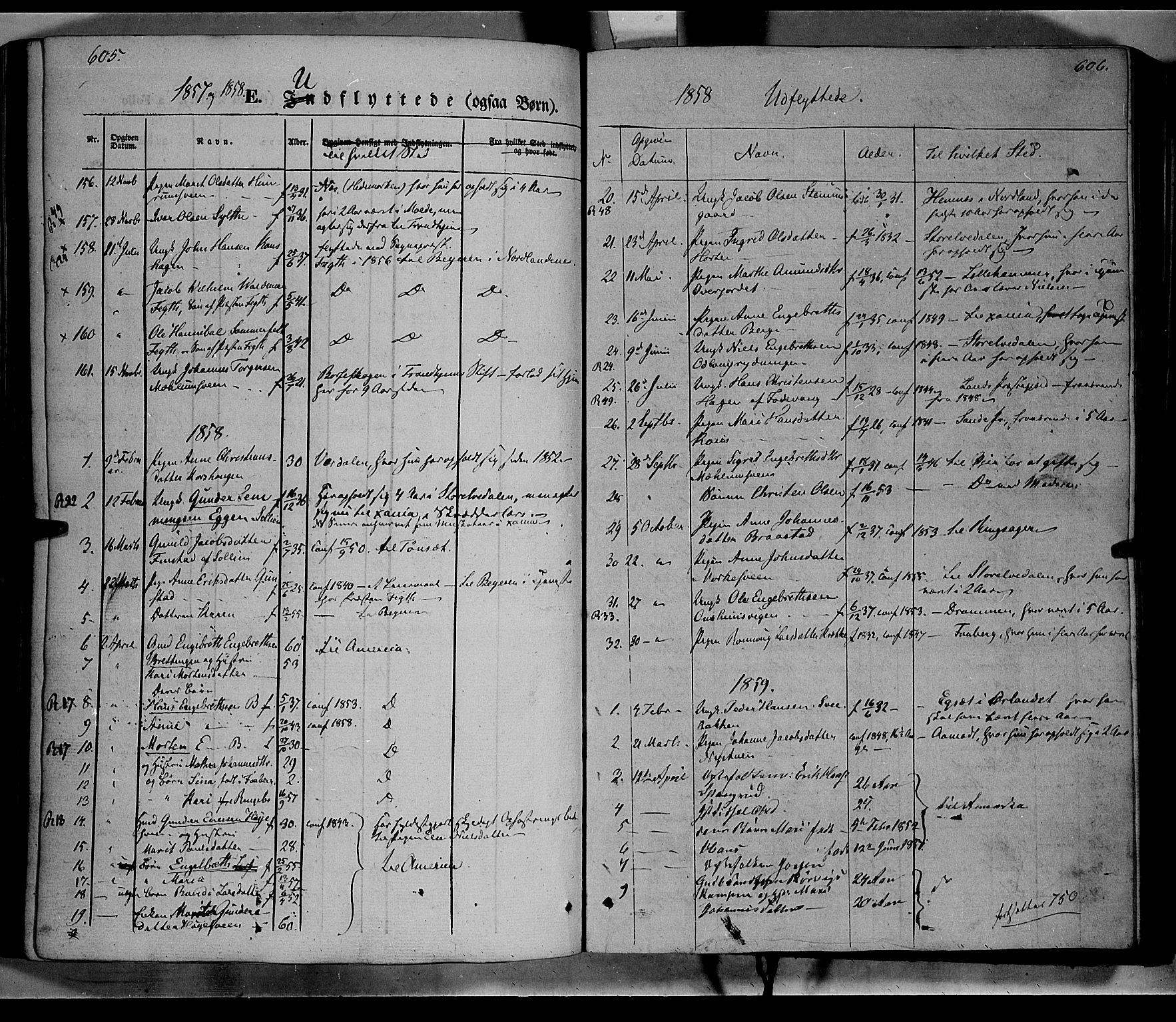 SAH, Ringebu prestekontor, Ministerialbok nr. 6, 1848-1859, s. 605-606