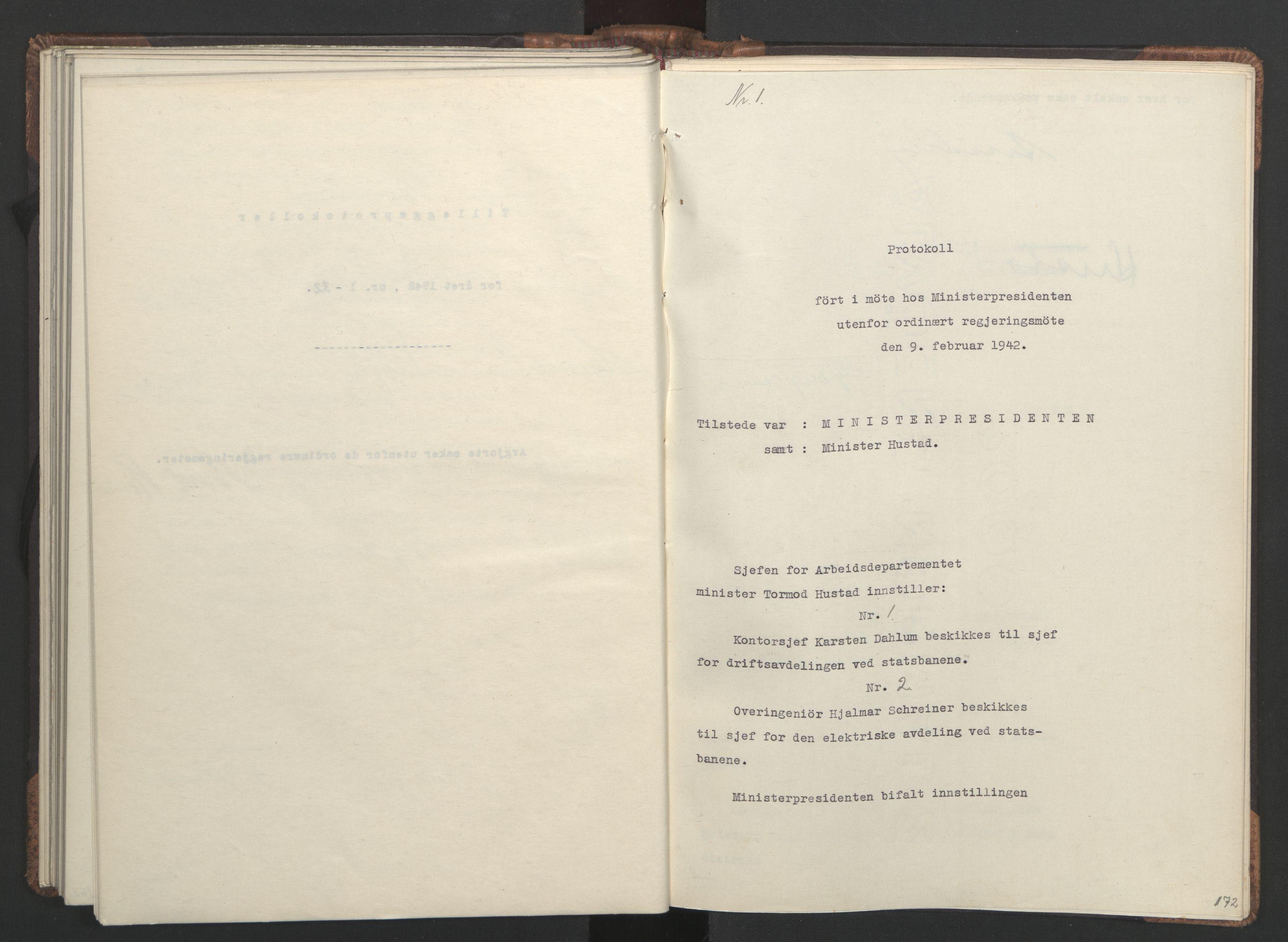 RA, NS-administrasjonen 1940-1945 (Statsrådsekretariatet, de kommisariske statsråder mm), D/Da/L0001: Beslutninger og tillegg (1-952 og 1-32), 1942, s. 171b-172a