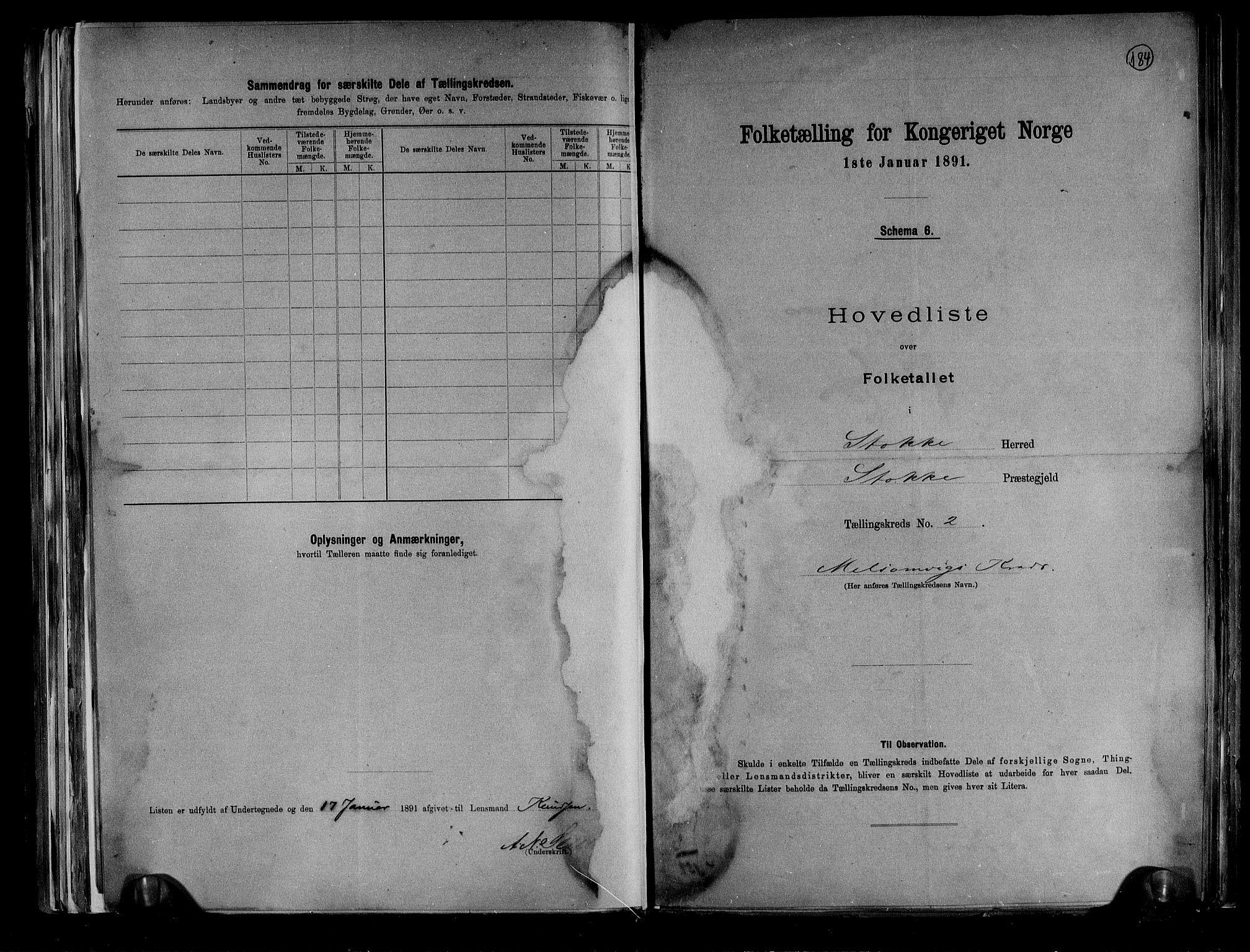RA, Folketelling 1891 for 0720 Stokke herred, 1891, s. 9
