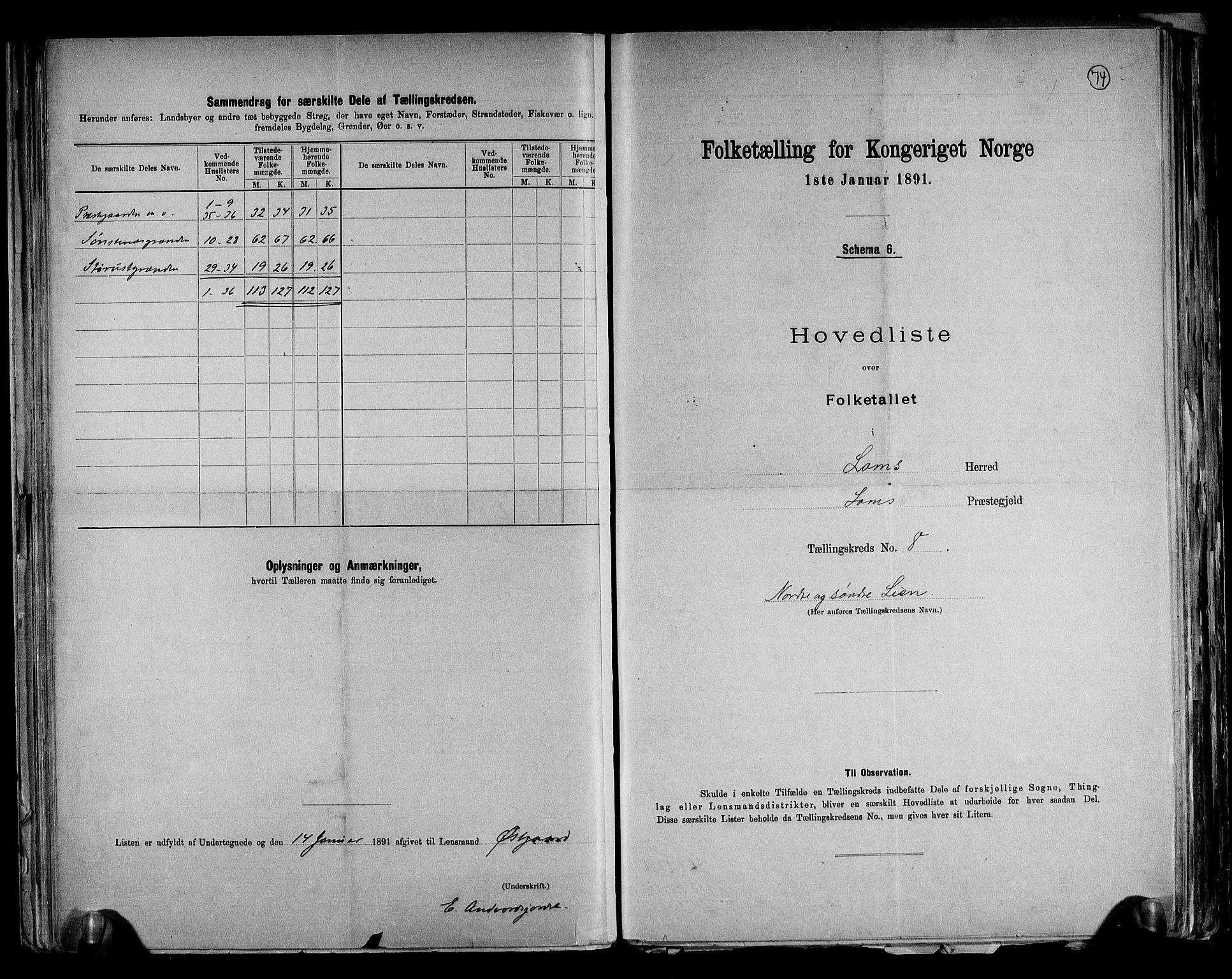 RA, Folketelling 1891 for 0514 Lom herred, 1891, s. 18
