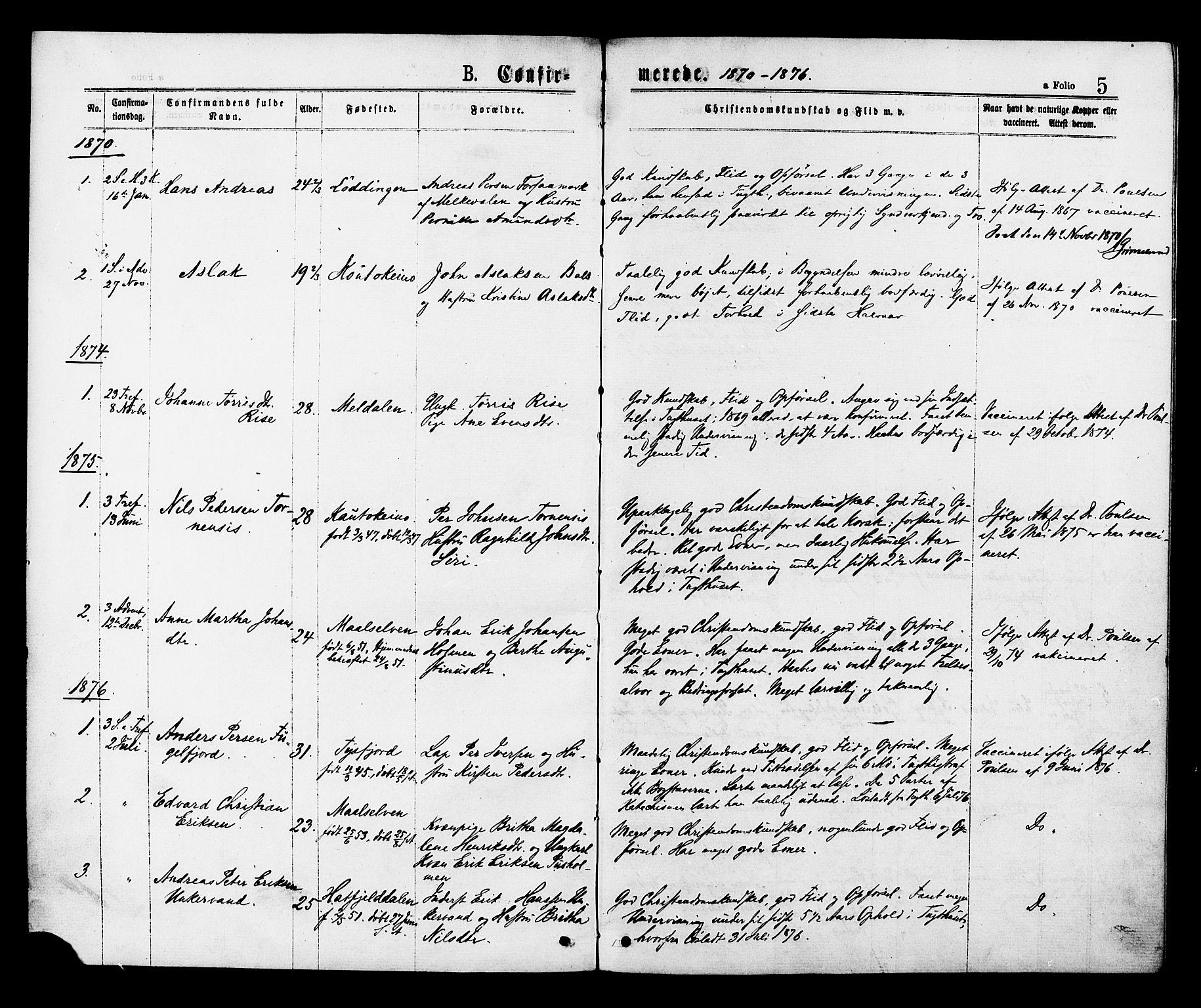 SAT, Ministerialprotokoller, klokkerbøker og fødselsregistre - Sør-Trøndelag, 624/L0482: Ministerialbok nr. 624A03, 1870-1918, s. 5
