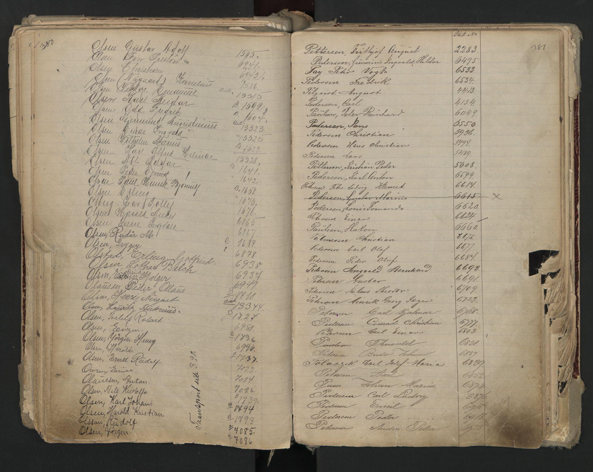 SAO, Oslo sjømannskontor, F/Fa/L0002: Register for Kristiania krets, 1866-1930, s. 380-381
