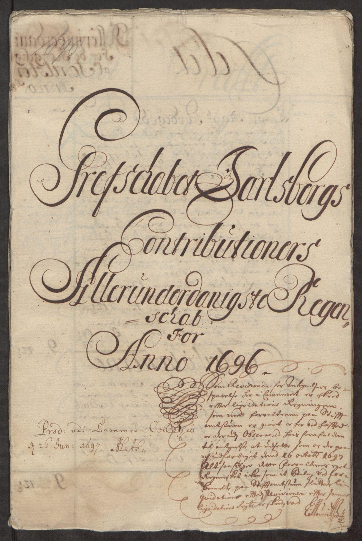RA, Rentekammeret inntil 1814, Reviderte regnskaper, Fogderegnskap, R32/L1867: Fogderegnskap Jarlsberg grevskap, 1694-1696, s. 256