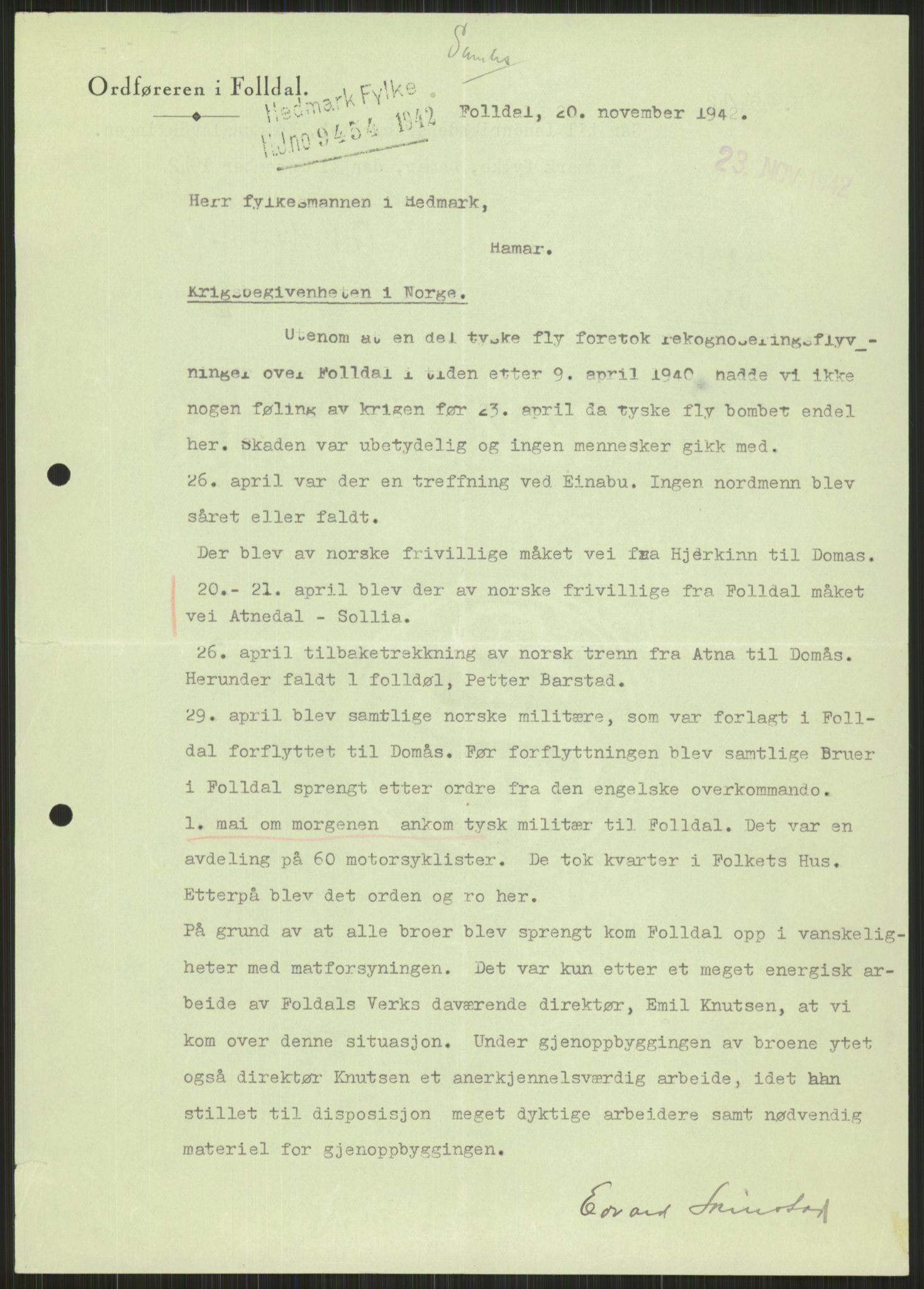 RA, Forsvaret, Forsvarets krigshistoriske avdeling, Y/Ya/L0013: II-C-11-31 - Fylkesmenn.  Rapporter om krigsbegivenhetene 1940., 1940, s. 886