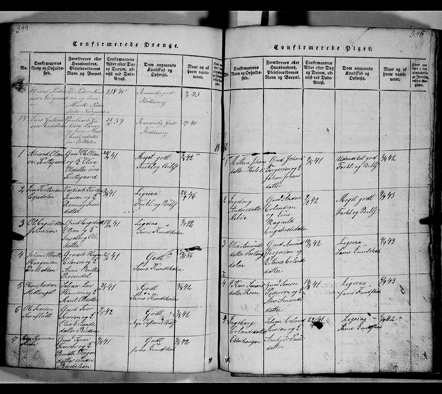 SAH, Gausdal prestekontor, Klokkerbok nr. 2, 1818-1874, s. 544-545