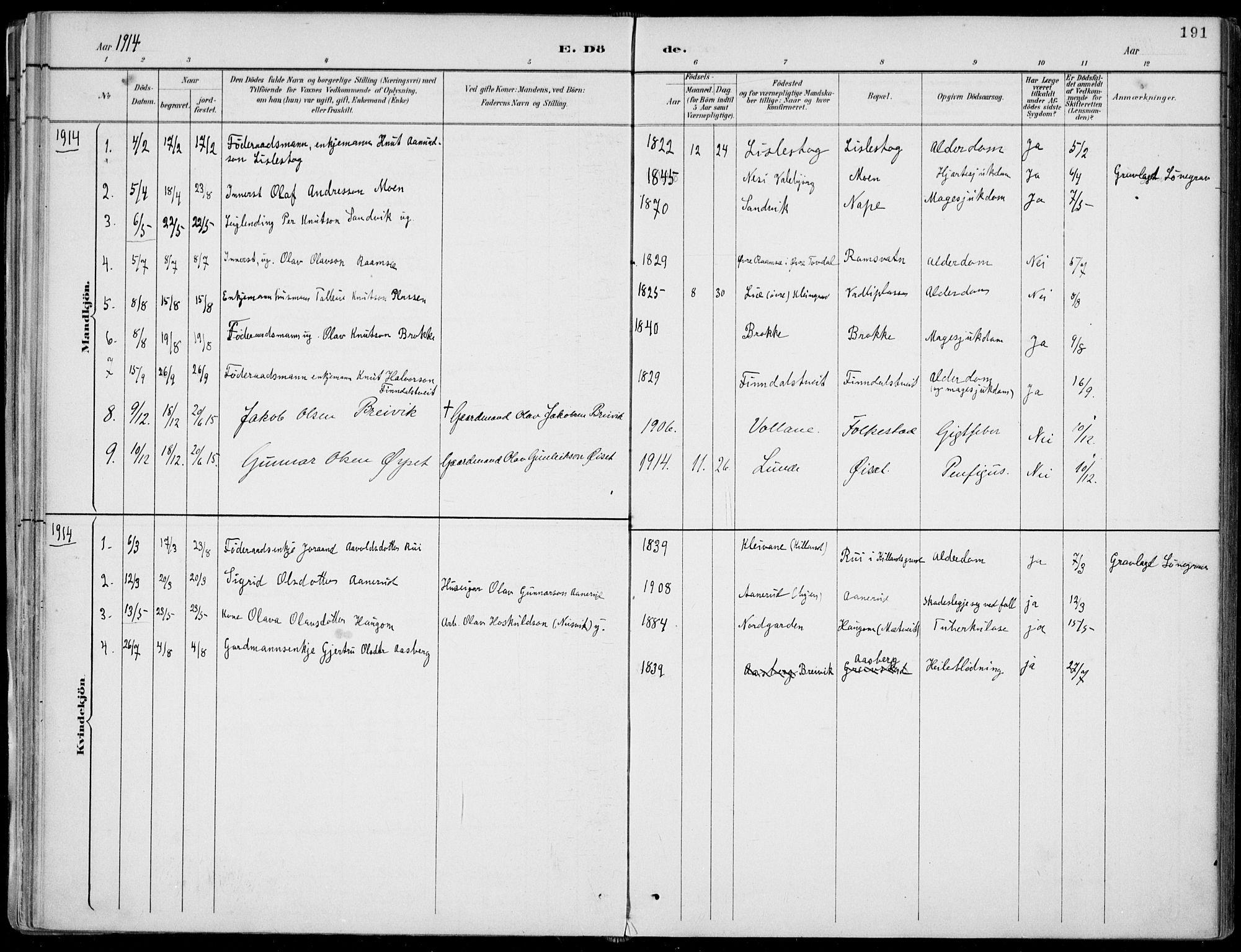 SAKO, Fyresdal kirkebøker, F/Fa/L0007: Ministerialbok nr. I 7, 1887-1914, s. 191