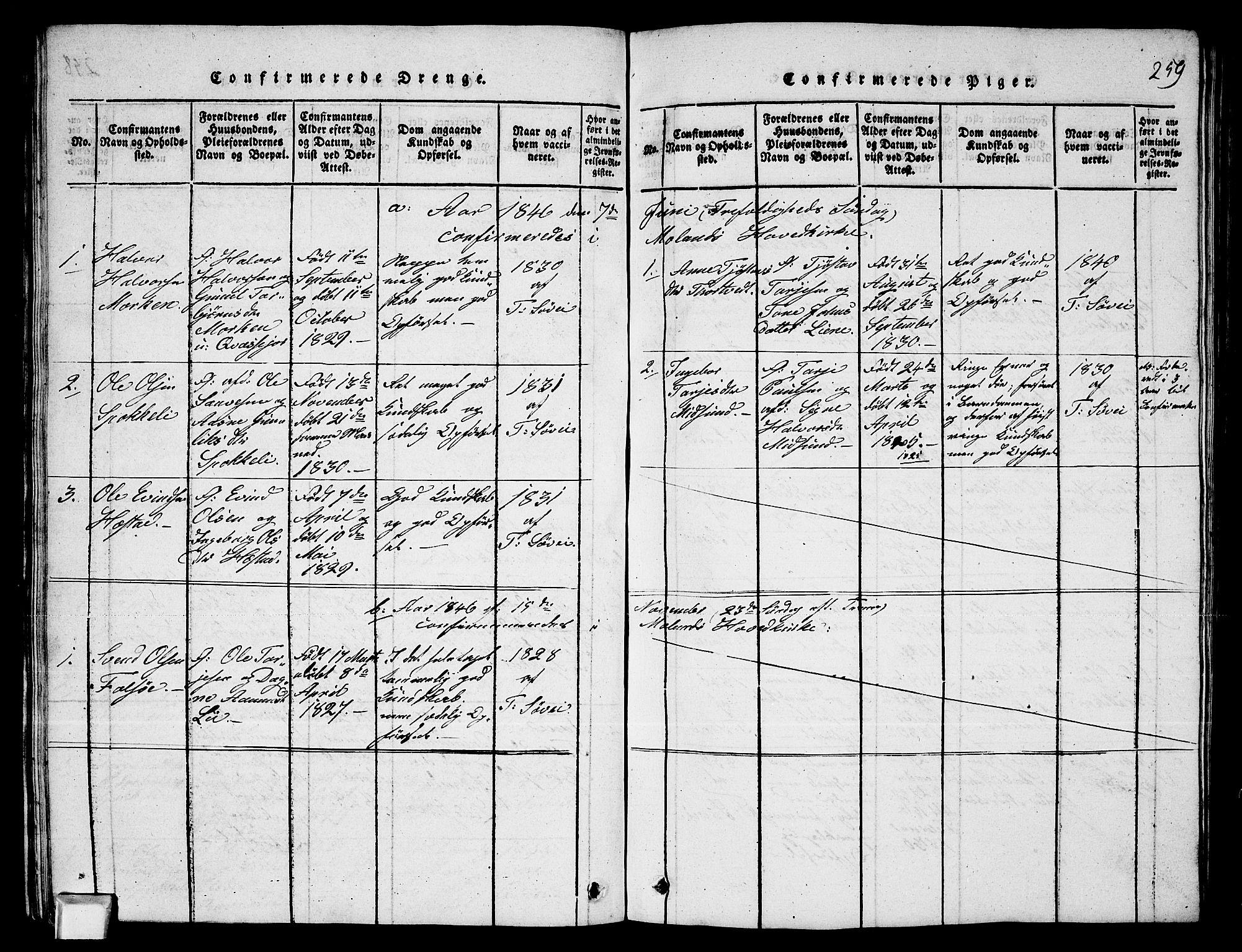 SAKO, Fyresdal kirkebøker, G/Ga/L0003: Klokkerbok nr. I 3, 1815-1863, s. 259