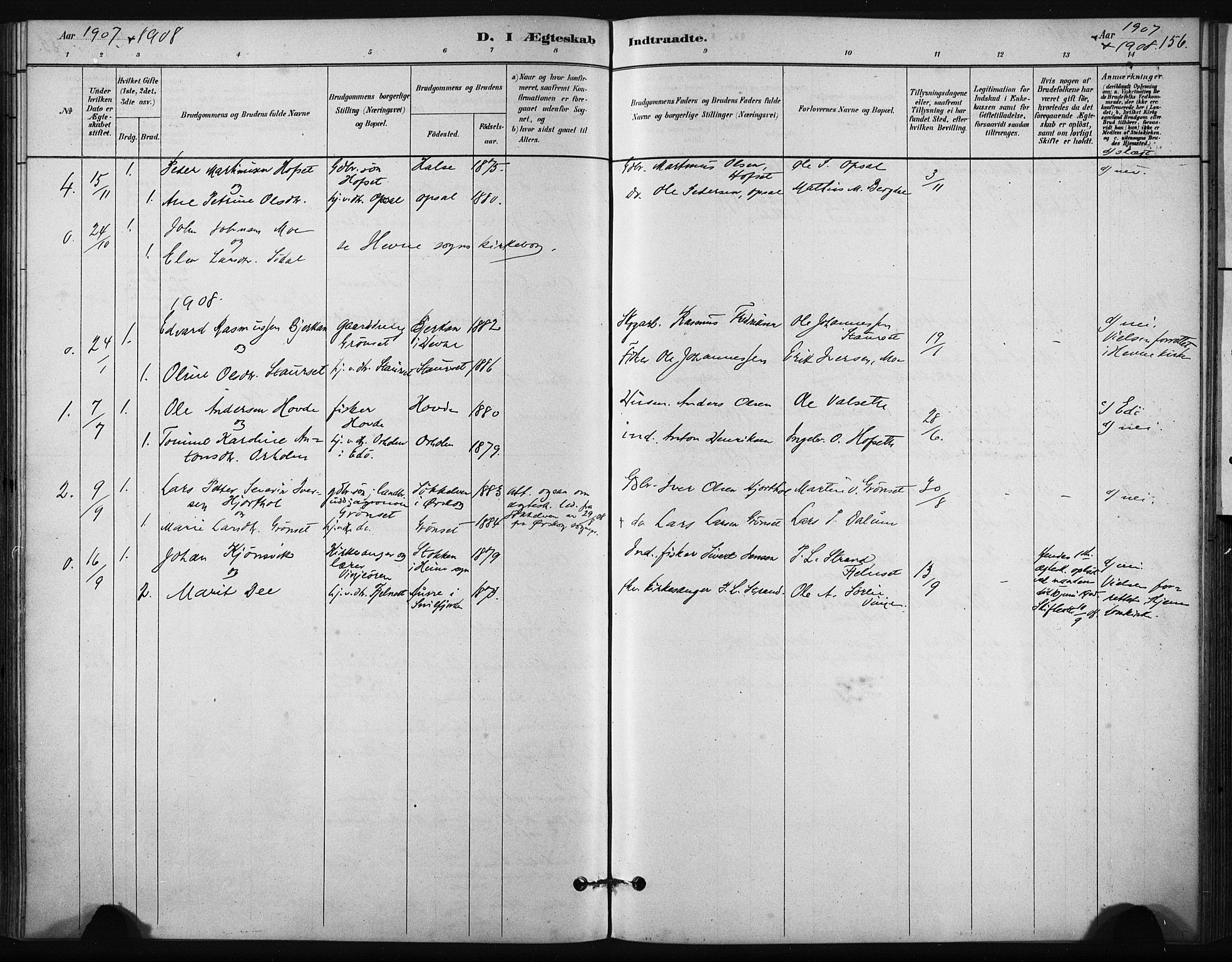 SAT, Ministerialprotokoller, klokkerbøker og fødselsregistre - Sør-Trøndelag, 631/L0512: Ministerialbok nr. 631A01, 1879-1912, s. 156