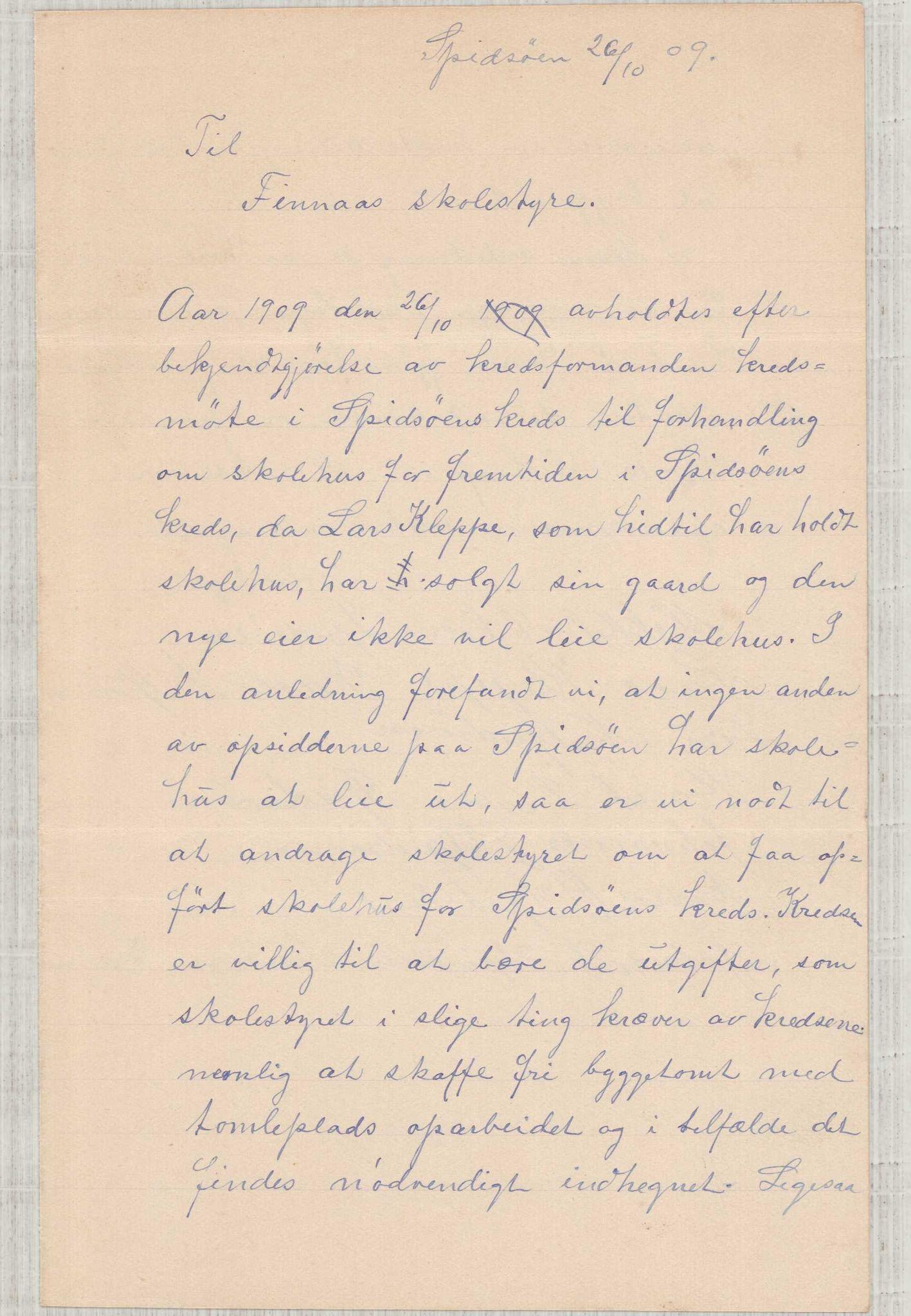IKAH, Finnaas kommune. Formannskapet, D/Da/L0001: Korrespondanse / saker, 1909-1911, s. 1