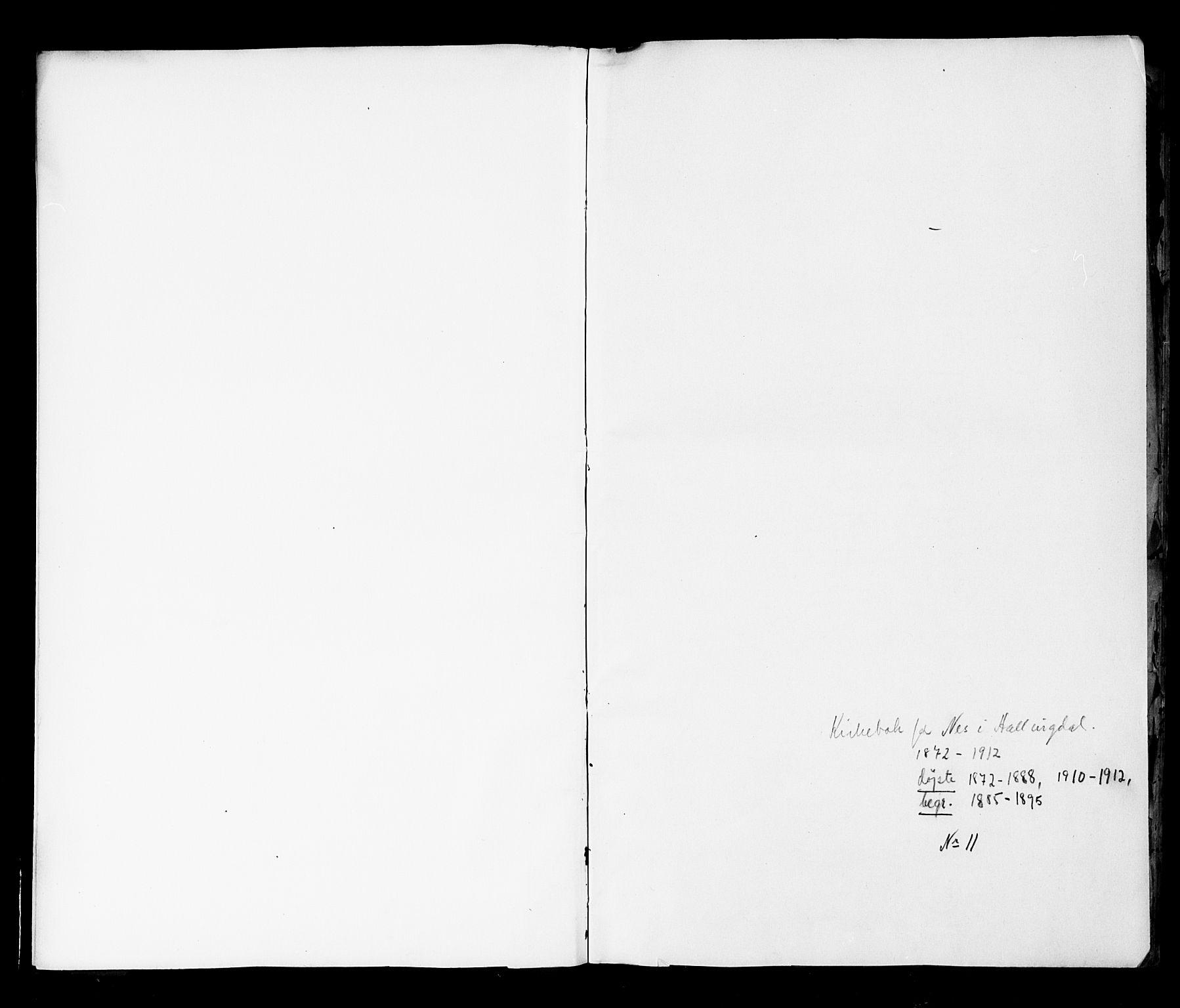 SAKO, Nes kirkebøker, G/Ga/L0002: Klokkerbok nr. I 2, 1872-1912