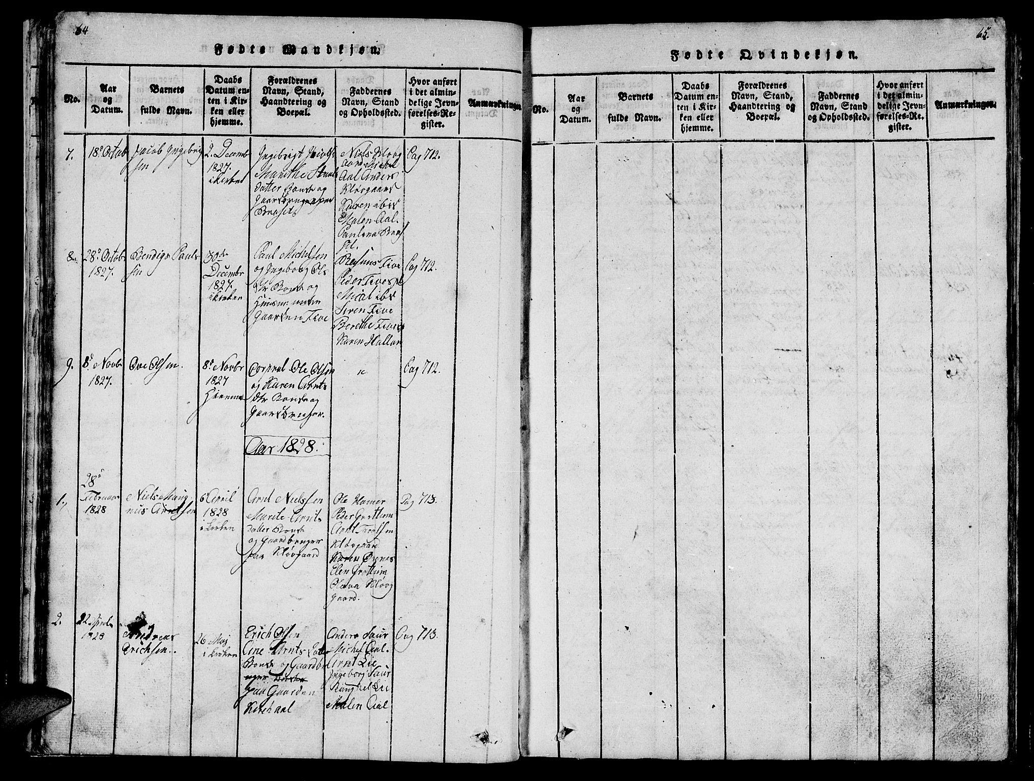 SAT, Ministerialprotokoller, klokkerbøker og fødselsregistre - Nord-Trøndelag, 747/L0459: Klokkerbok nr. 747C01, 1816-1842, s. 64-65