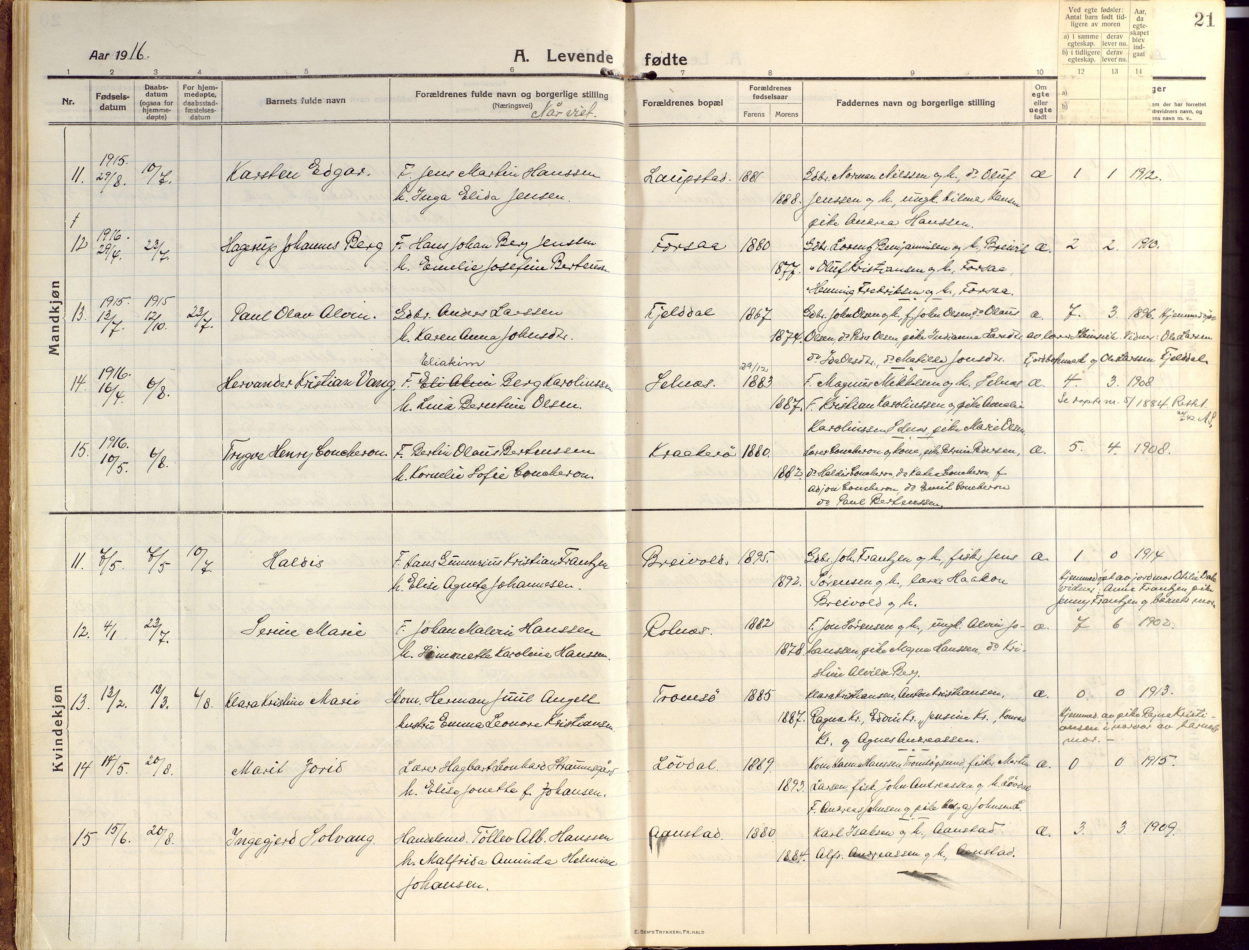 SATØ, Ibestad sokneprestembete, H/Ha/Haa/L0018kirke: Ministerialbok nr. 18, 1915-1929, s. 21