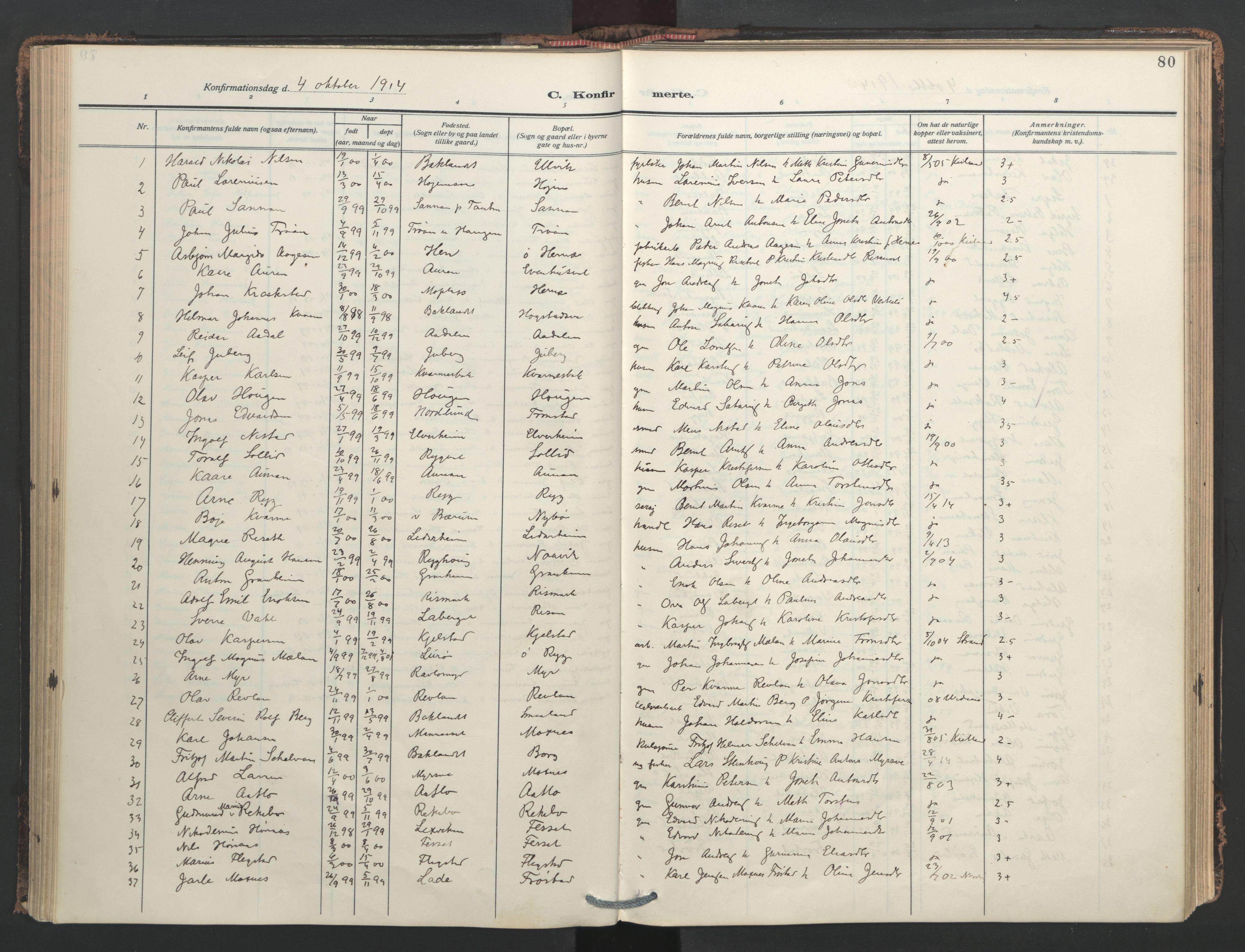 SAT, Ministerialprotokoller, klokkerbøker og fødselsregistre - Nord-Trøndelag, 713/L0123: Ministerialbok nr. 713A12, 1911-1925, s. 80