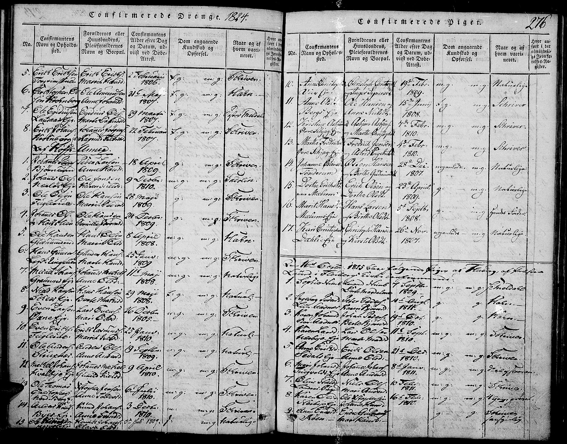 SAH, Land prestekontor, Ministerialbok nr. 7, 1814-1830, s. 276