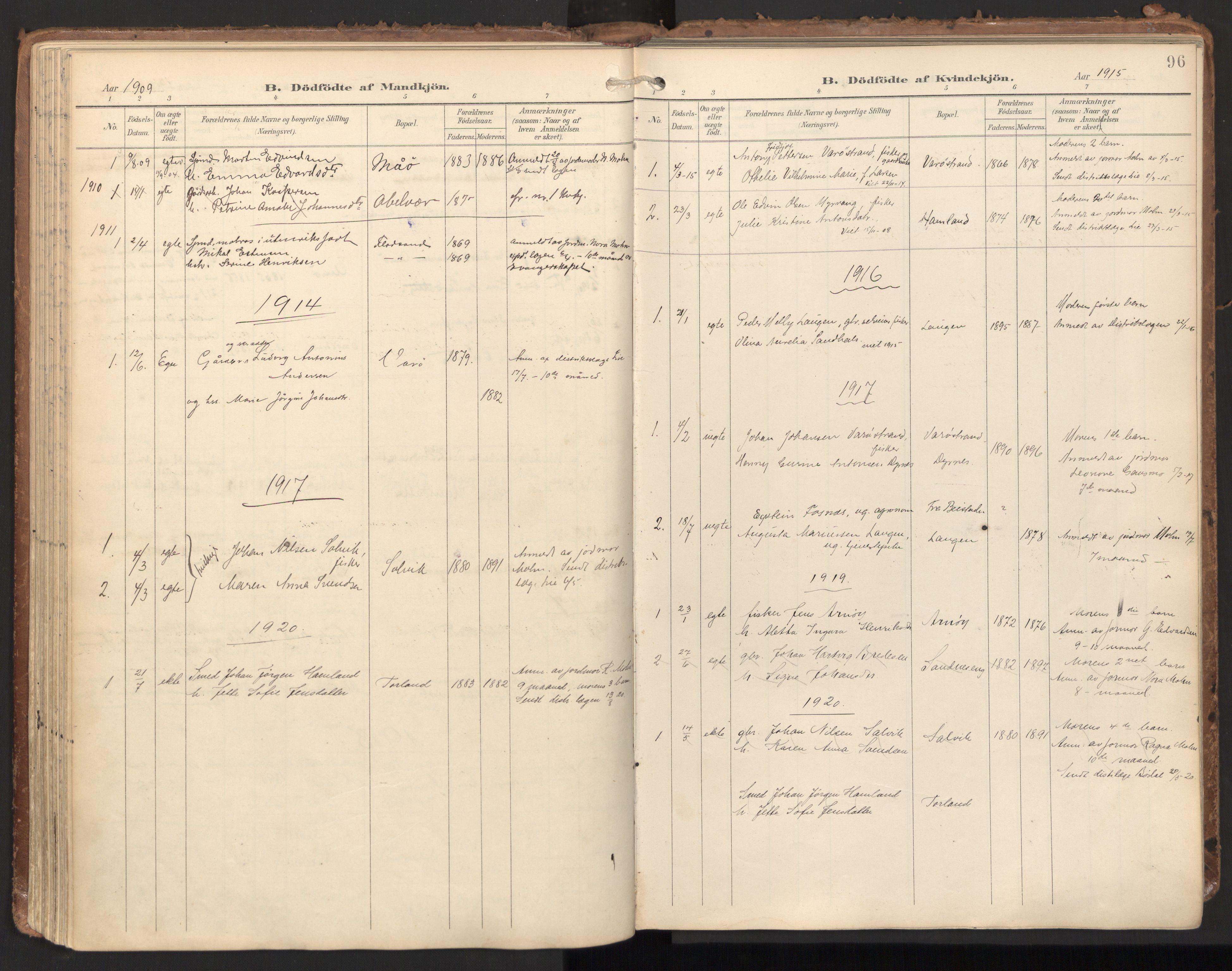 SAT, Ministerialprotokoller, klokkerbøker og fødselsregistre - Nord-Trøndelag, 784/L0677: Ministerialbok nr. 784A12, 1900-1920, s. 96