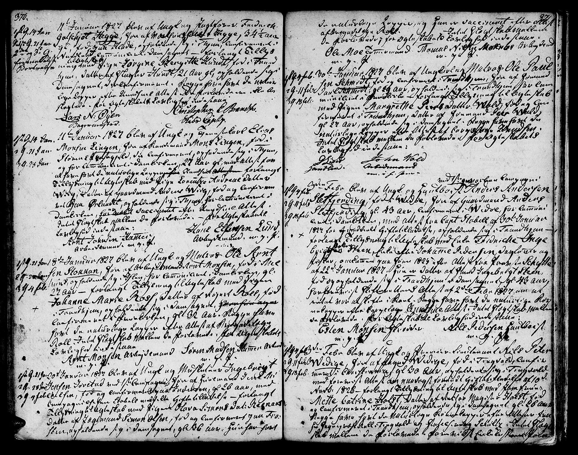 SAT, Ministerialprotokoller, klokkerbøker og fødselsregistre - Sør-Trøndelag, 601/L0042: Ministerialbok nr. 601A10, 1802-1830, s. 370-371