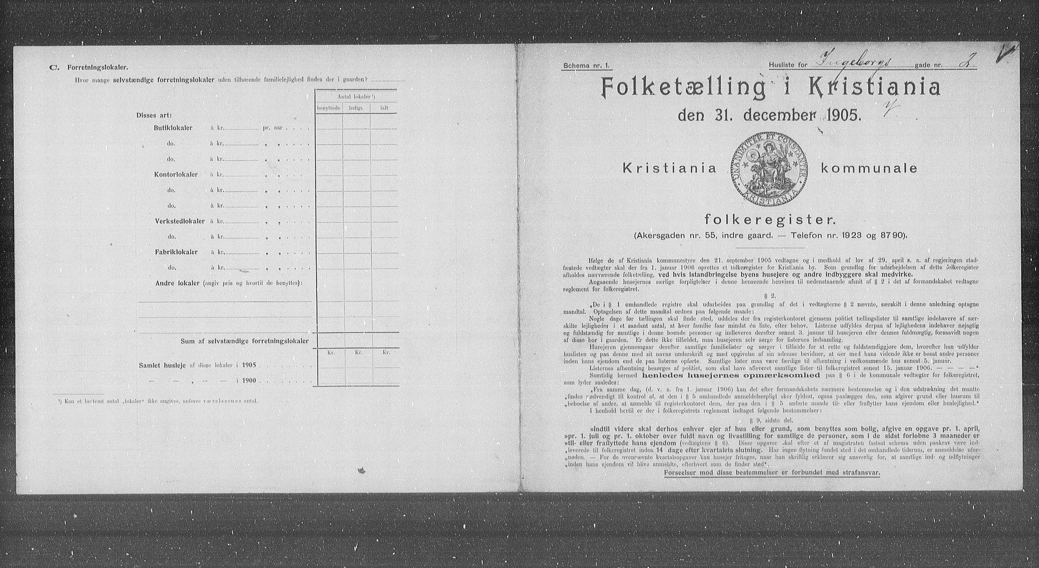 OBA, Kommunal folketelling 1905 for Kristiania kjøpstad, 1905, s. 23035