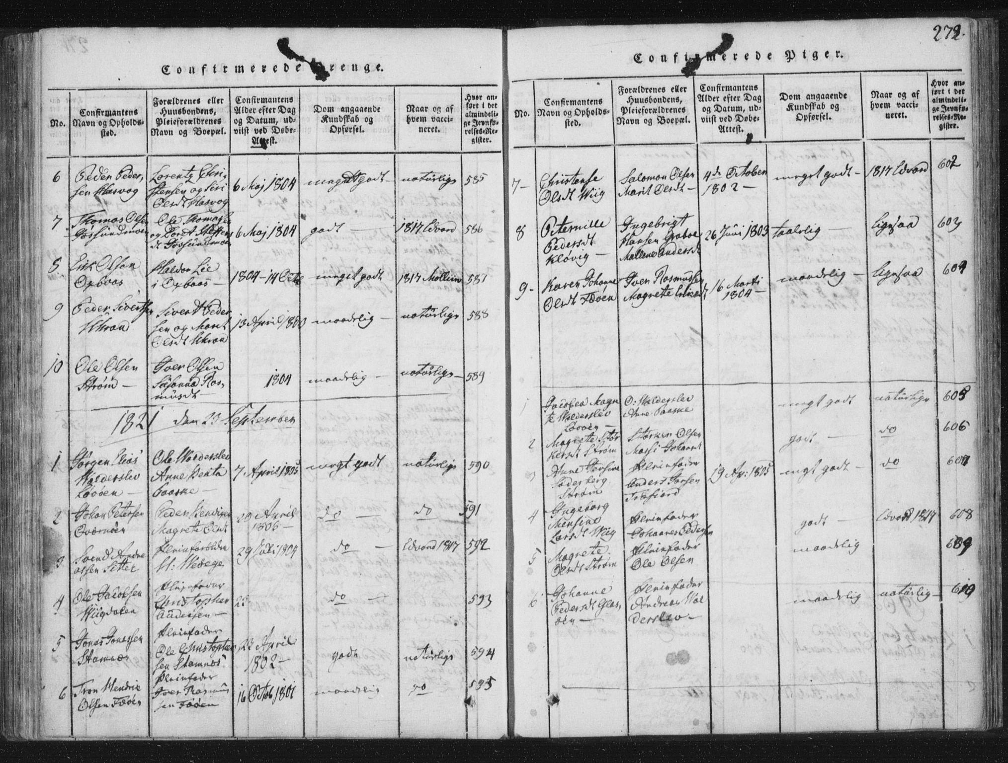SAT, Ministerialprotokoller, klokkerbøker og fødselsregistre - Nord-Trøndelag, 773/L0609: Ministerialbok nr. 773A03 /3, 1815-1830, s. 272