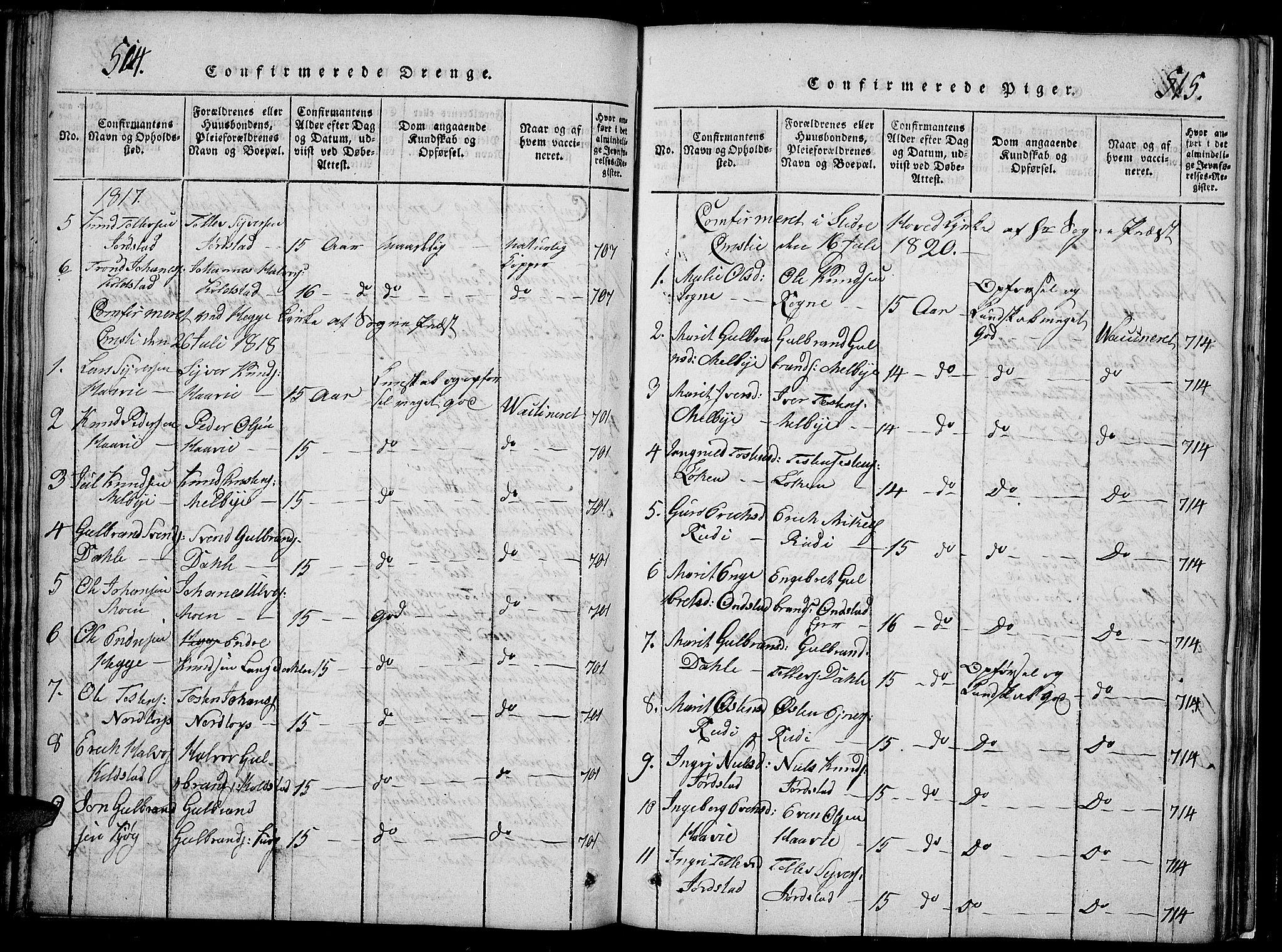 SAH, Slidre prestekontor, Klokkerbok nr. 2, 1814-1839, s. 514-515