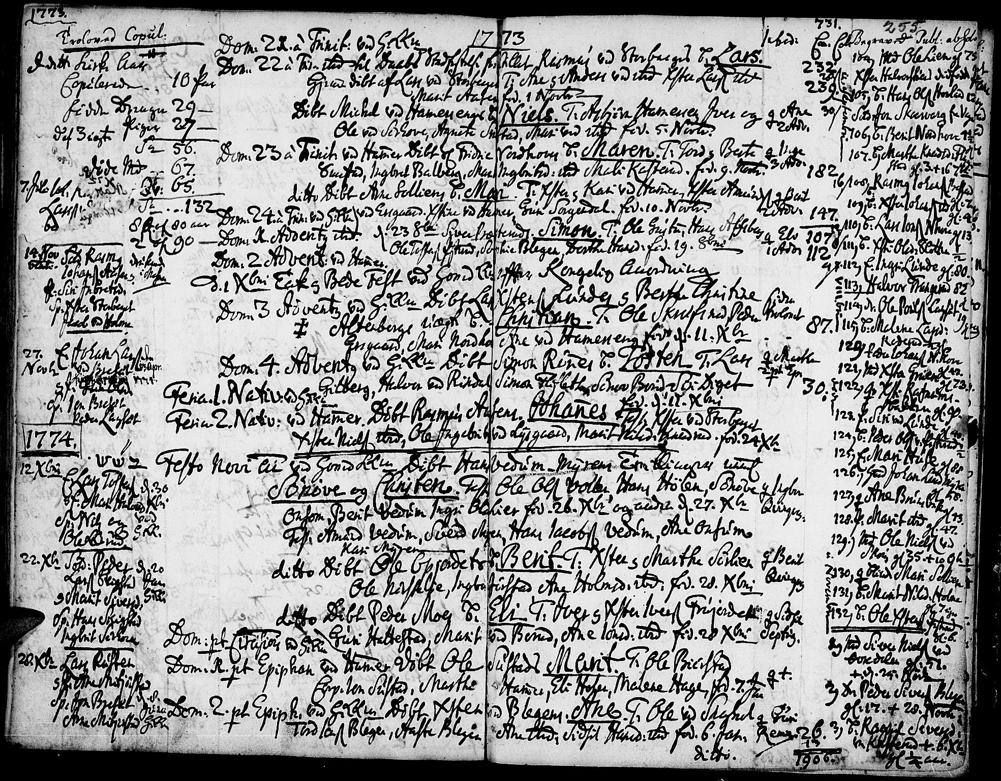 SAH, Fåberg prestekontor, Ministerialbok nr. 1, 1727-1775, s. 255