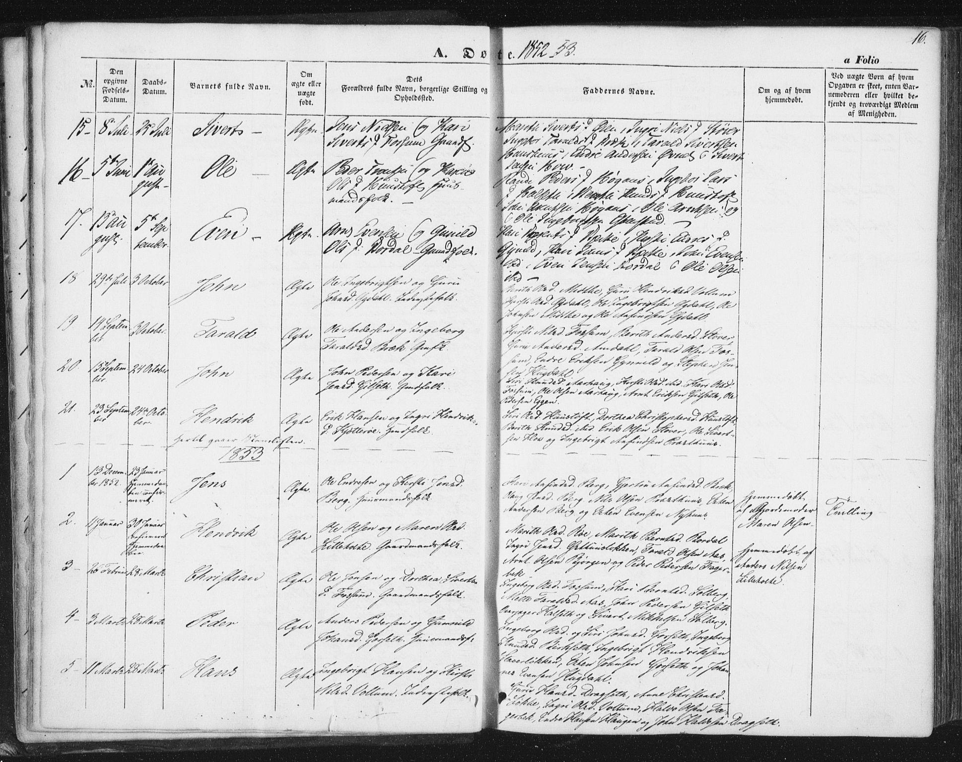 SAT, Ministerialprotokoller, klokkerbøker og fødselsregistre - Sør-Trøndelag, 689/L1038: Ministerialbok nr. 689A03, 1848-1872, s. 16