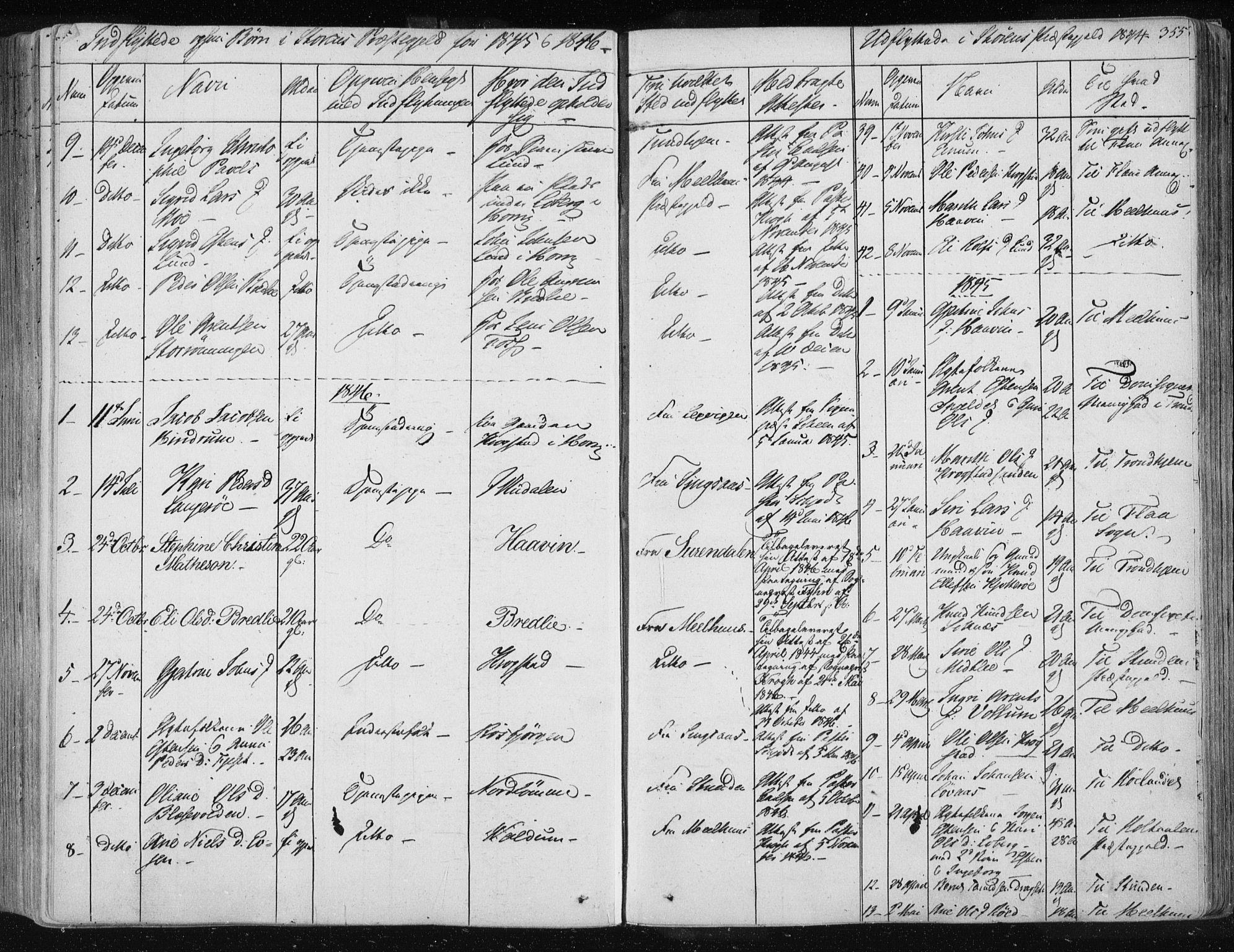 SAT, Ministerialprotokoller, klokkerbøker og fødselsregistre - Sør-Trøndelag, 687/L0997: Ministerialbok nr. 687A05 /1, 1843-1848, s. 355