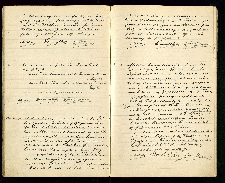SAST, PA 1533 - A/S Vestlandske Petroleumscompani, A/Aa/L0001: Generalforsamlinger og styreprotokoller, 1907-1915, s. 39