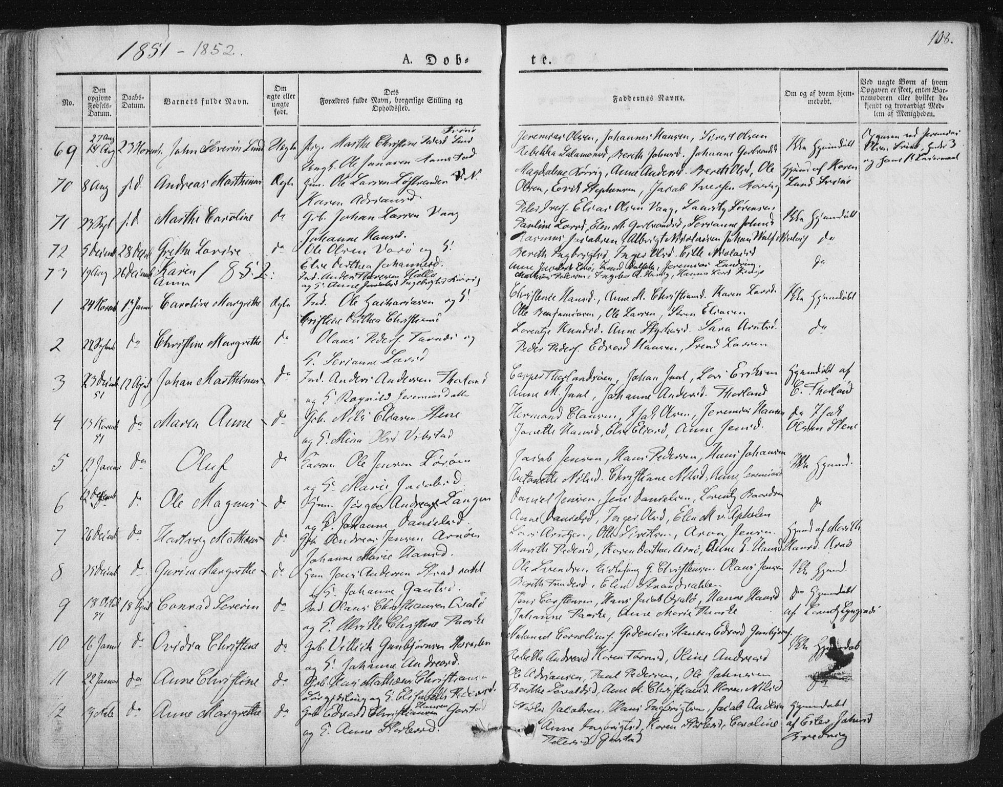 SAT, Ministerialprotokoller, klokkerbøker og fødselsregistre - Nord-Trøndelag, 784/L0669: Ministerialbok nr. 784A04, 1829-1859, s. 108