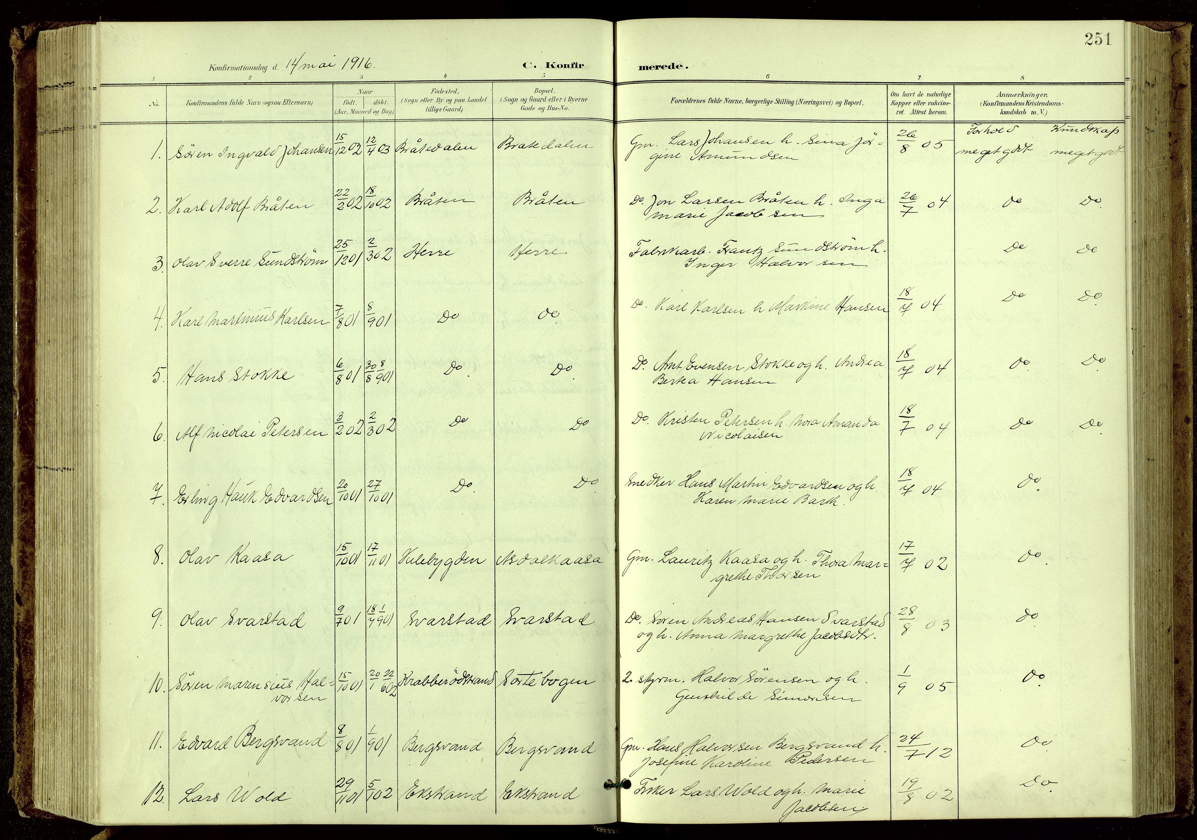 SAKO, Bamble kirkebøker, G/Ga/L0010: Klokkerbok nr. I 10, 1901-1919, s. 251