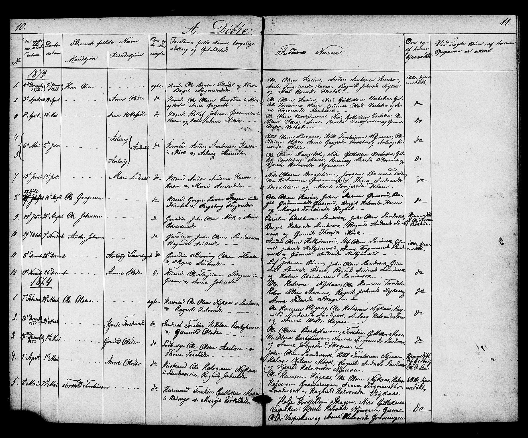 SAKO, Heddal kirkebøker, G/Gb/L0001: Klokkerbok nr. II 1, 1866-1887, s. 10-11