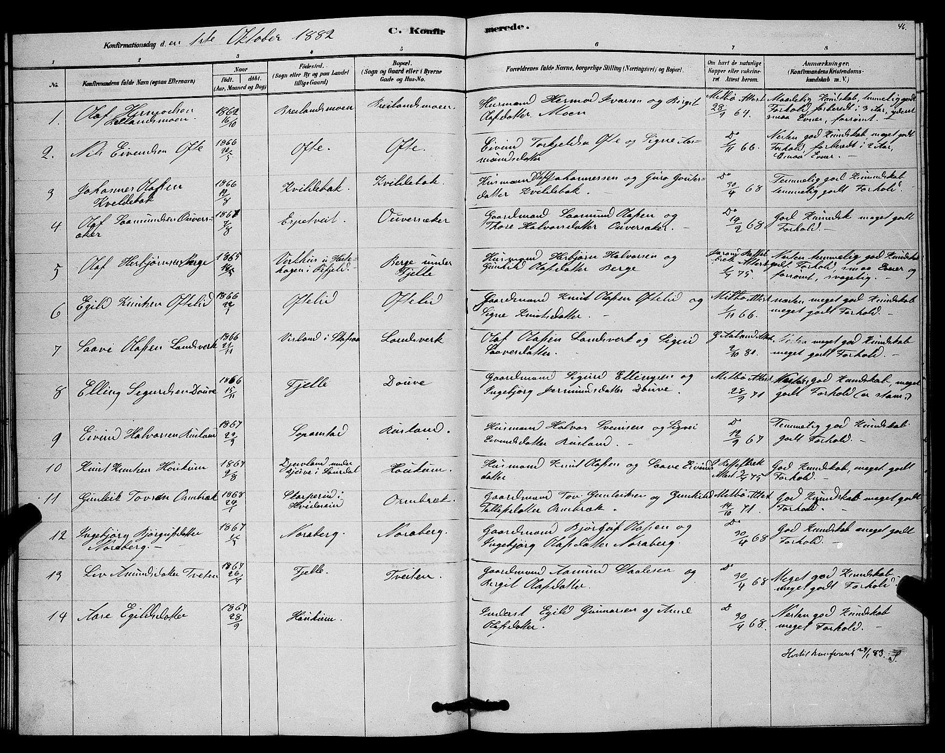 SAKO, Lårdal kirkebøker, G/Gc/L0003: Klokkerbok nr. III 3, 1878-1890, s. 46