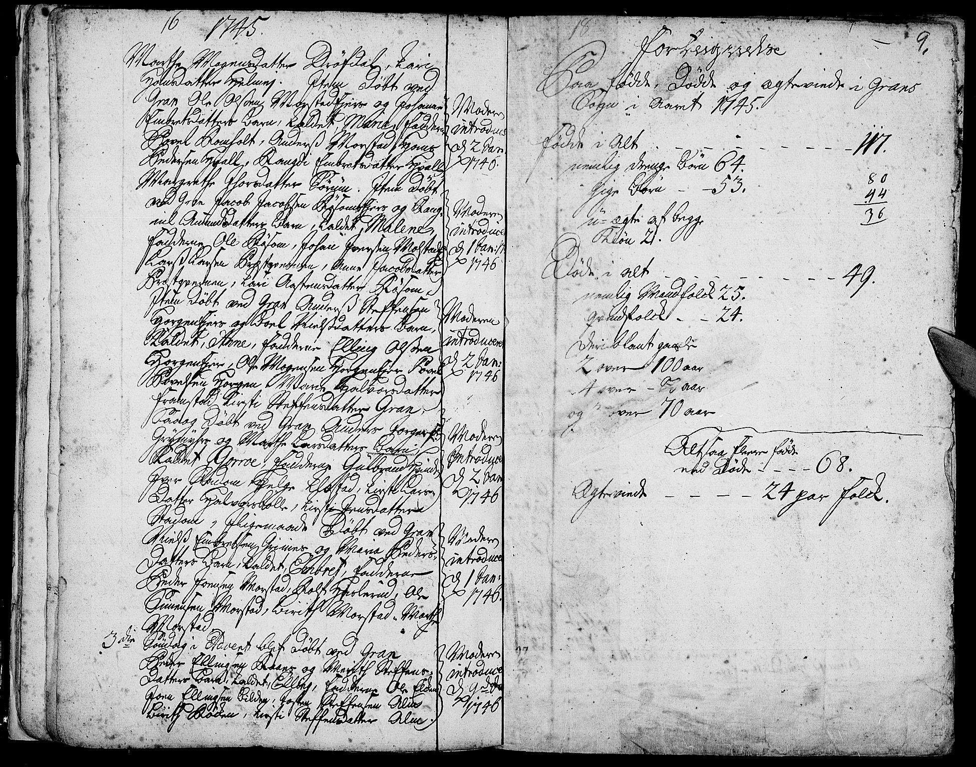 SAH, Gran prestekontor, Ministerialbok nr. 3, 1745-1758, s. 9
