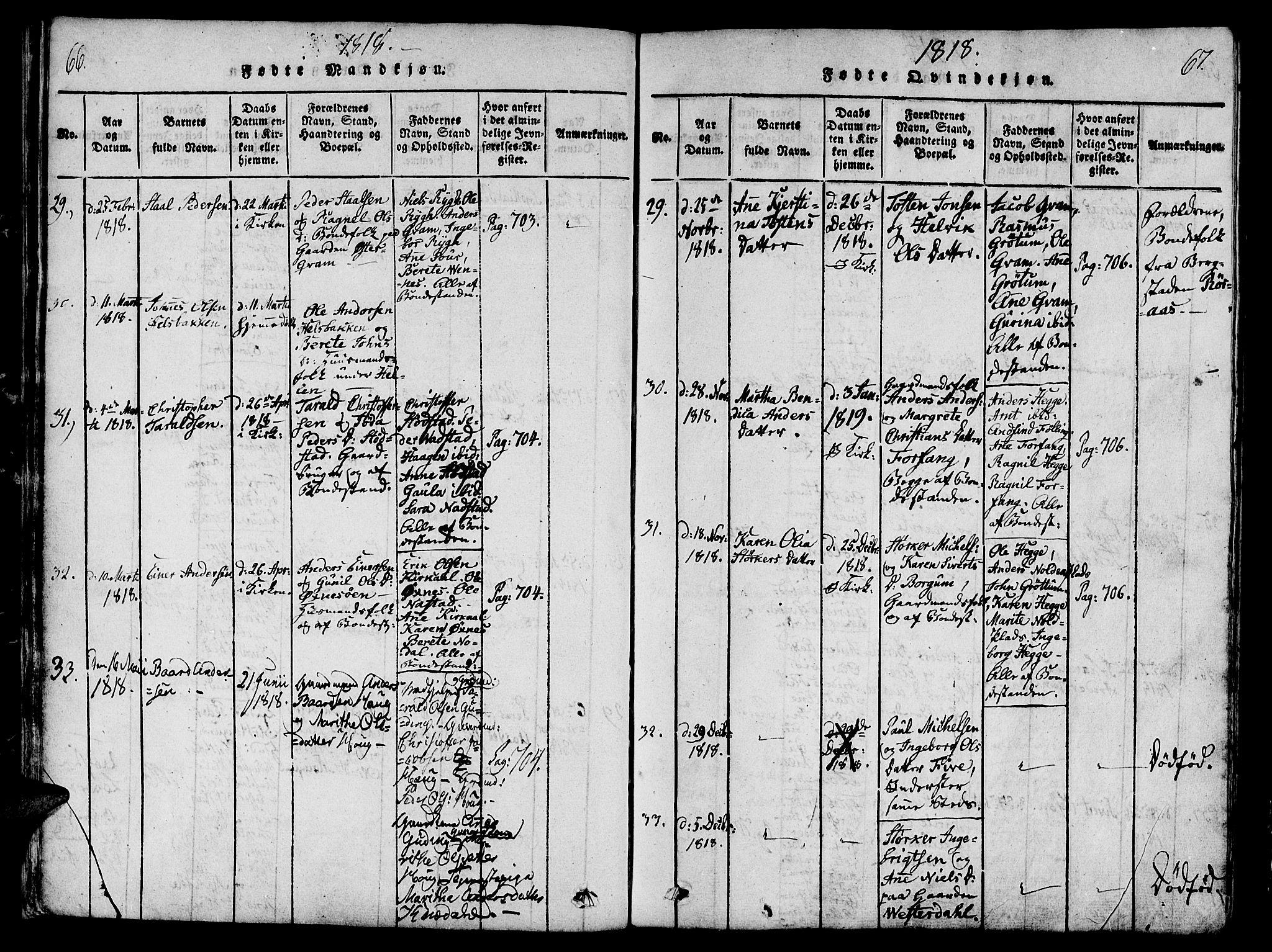 SAT, Ministerialprotokoller, klokkerbøker og fødselsregistre - Nord-Trøndelag, 746/L0441: Ministerialbok nr. 746A03 /2, 1816-1827, s. 66-67