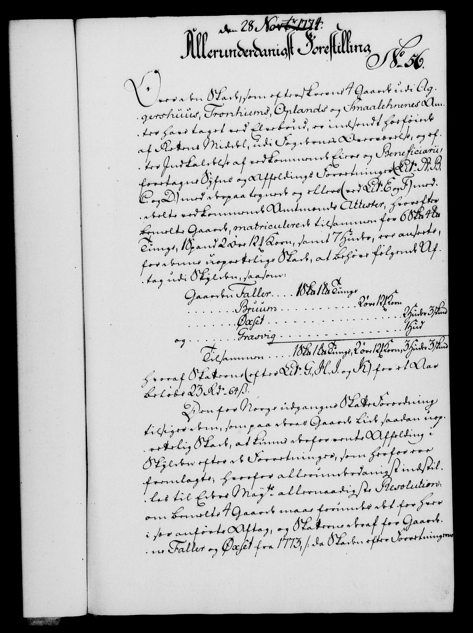 RA, Rentekammeret, Kammerkanselliet, G/Gf/Gfa/L0056: Norsk relasjons- og resolusjonsprotokoll (merket RK 52.56), 1774, s. 232