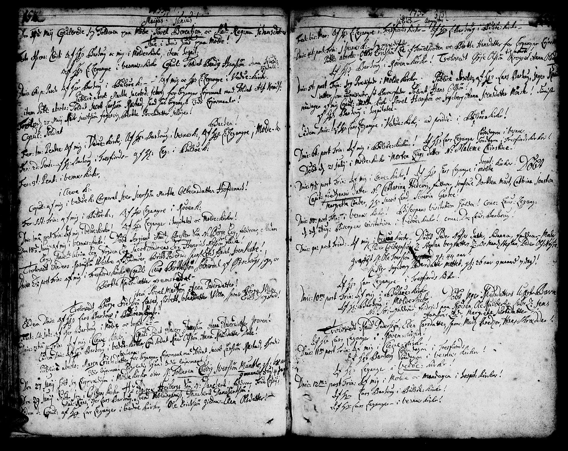 SAT, Ministerialprotokoller, klokkerbøker og fødselsregistre - Møre og Romsdal, 547/L0599: Ministerialbok nr. 547A01, 1721-1764, s. 154-155