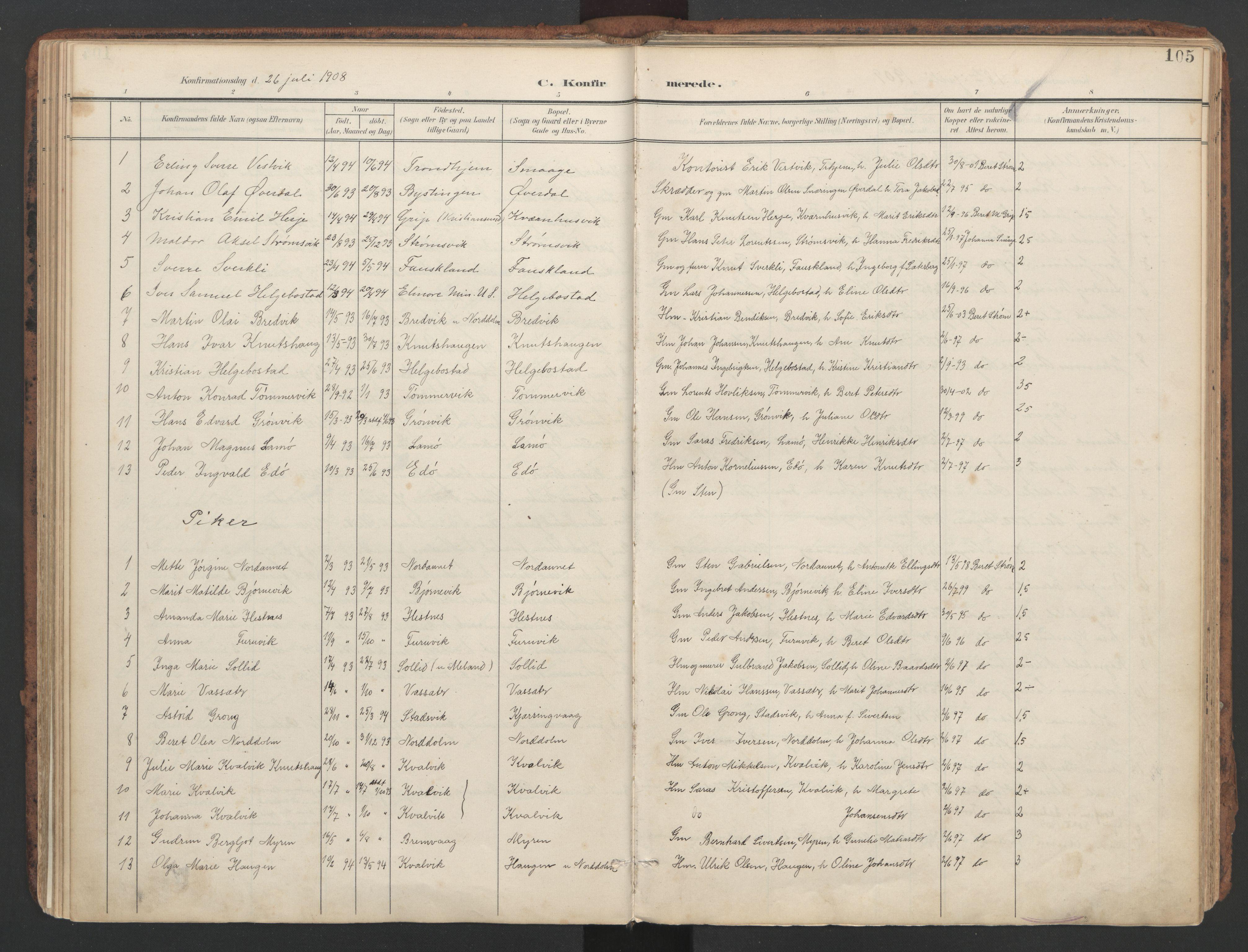 SAT, Ministerialprotokoller, klokkerbøker og fødselsregistre - Sør-Trøndelag, 634/L0537: Ministerialbok nr. 634A13, 1896-1922, s. 105