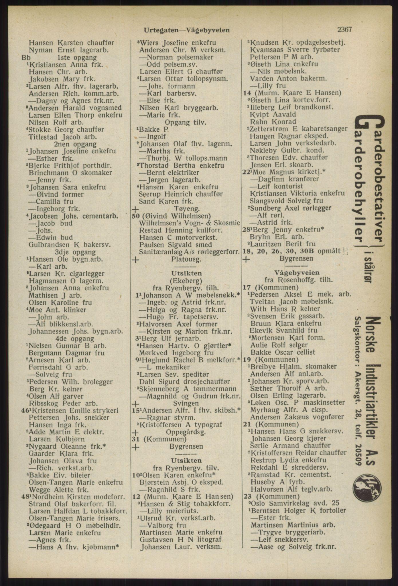 RA, Oslo adressebok (publikasjon)*, 1936, s. 2367
