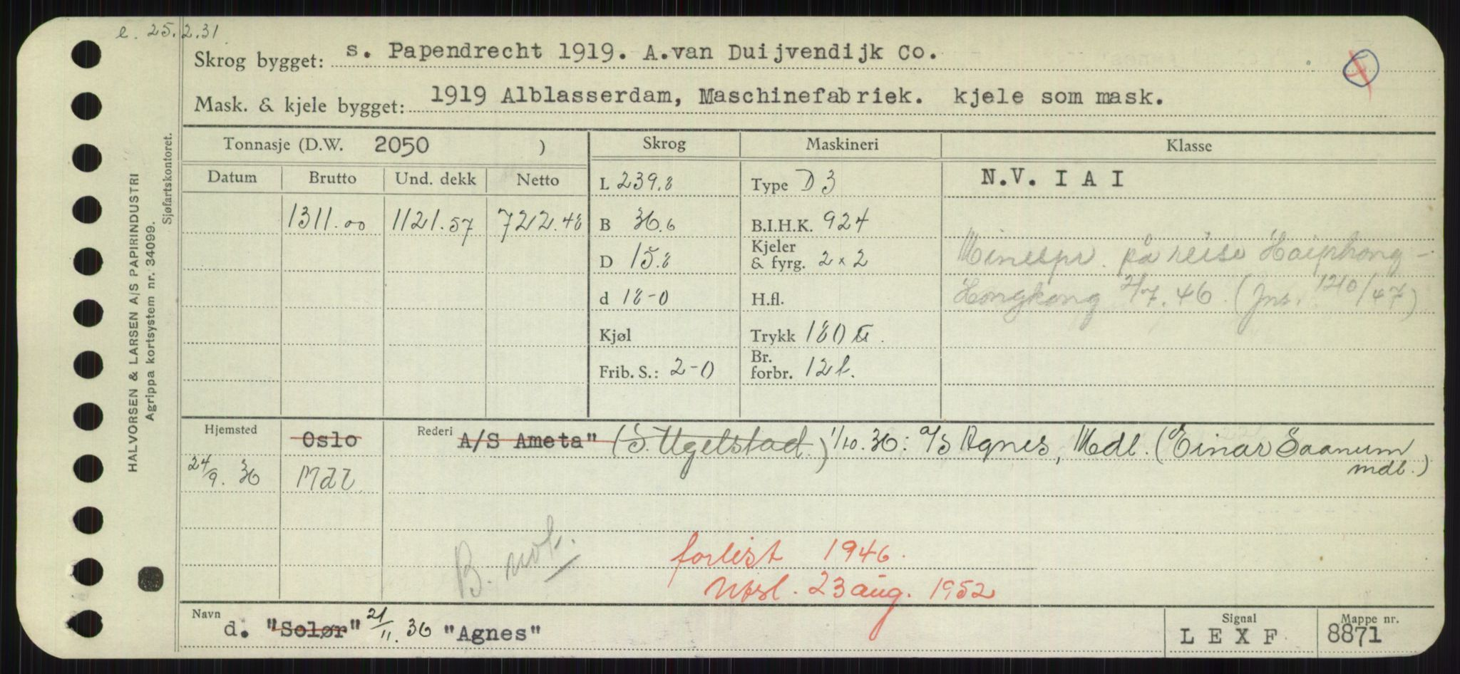 RA, Sjøfartsdirektoratet med forløpere, Skipsmålingen, H/Hd/L0001: Fartøy, A-Anv, s. 137