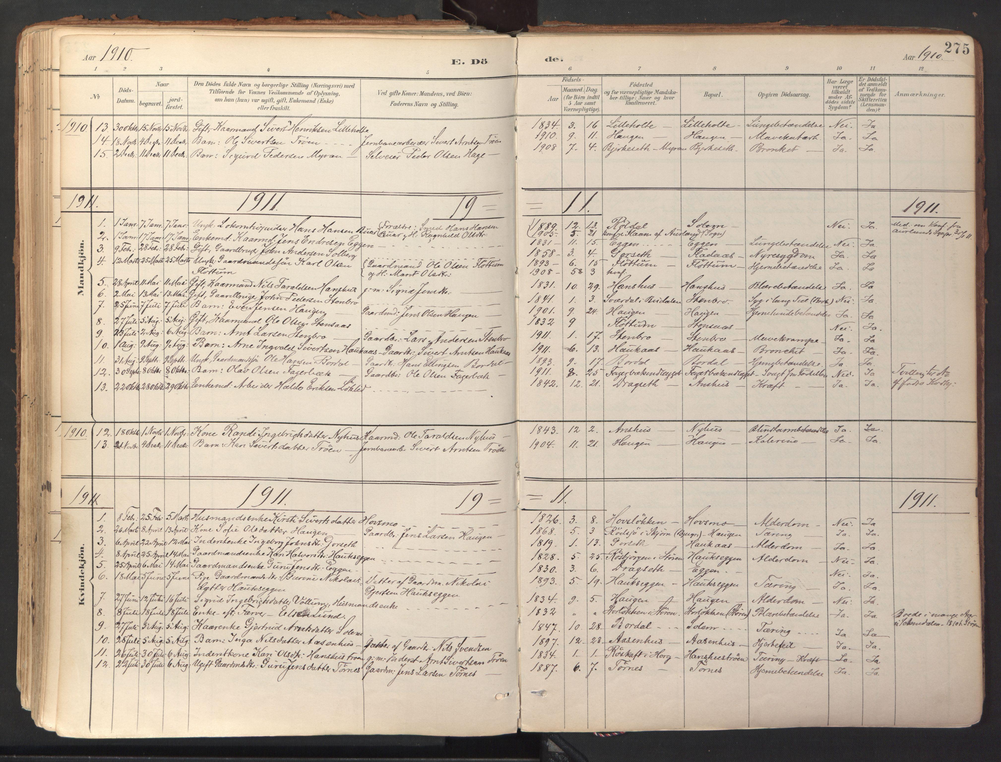 SAT, Ministerialprotokoller, klokkerbøker og fødselsregistre - Sør-Trøndelag, 689/L1041: Ministerialbok nr. 689A06, 1891-1923, s. 275