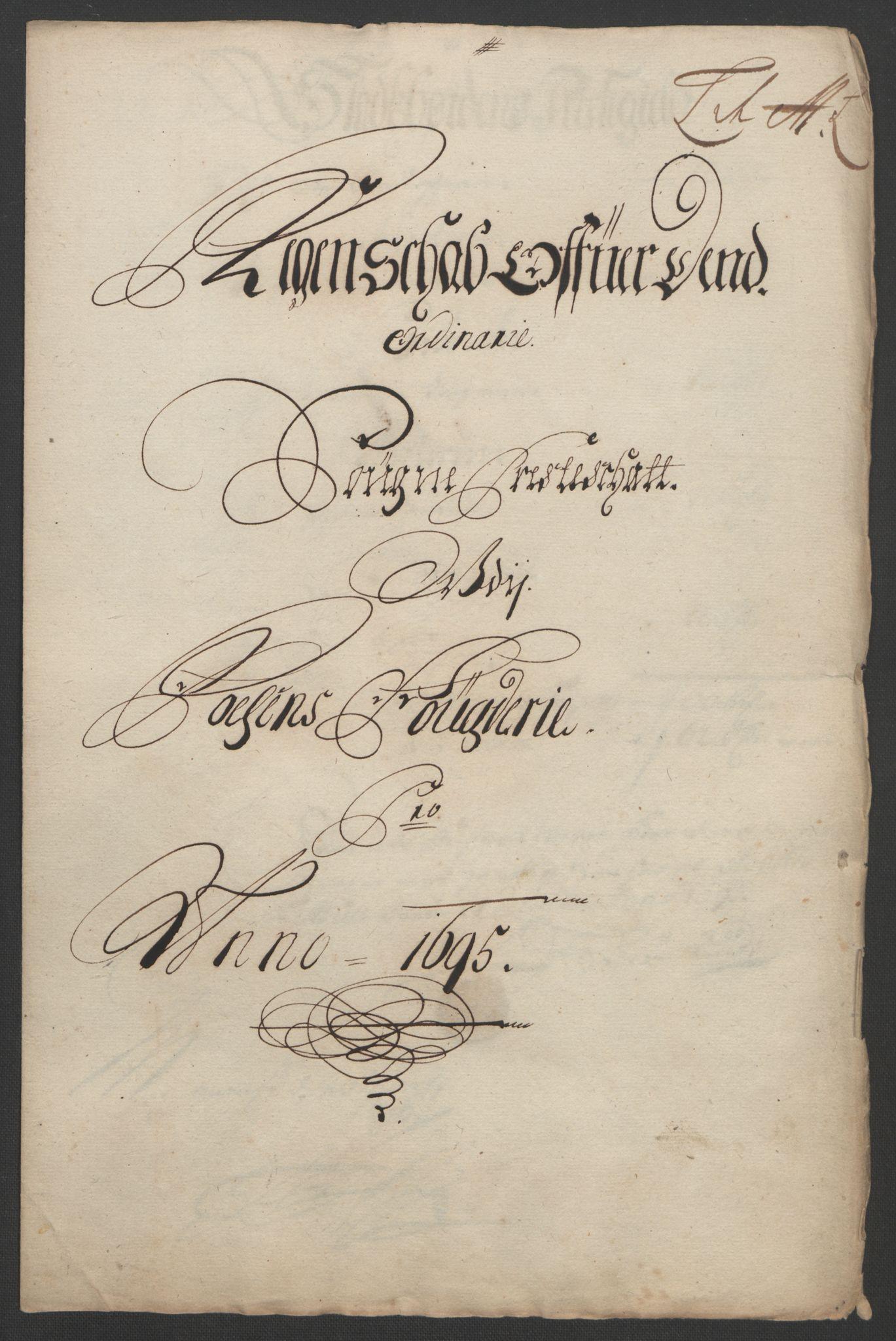 RA, Rentekammeret inntil 1814, Reviderte regnskaper, Fogderegnskap, R57/L3851: Fogderegnskap Fosen, 1695-1696, s. 171