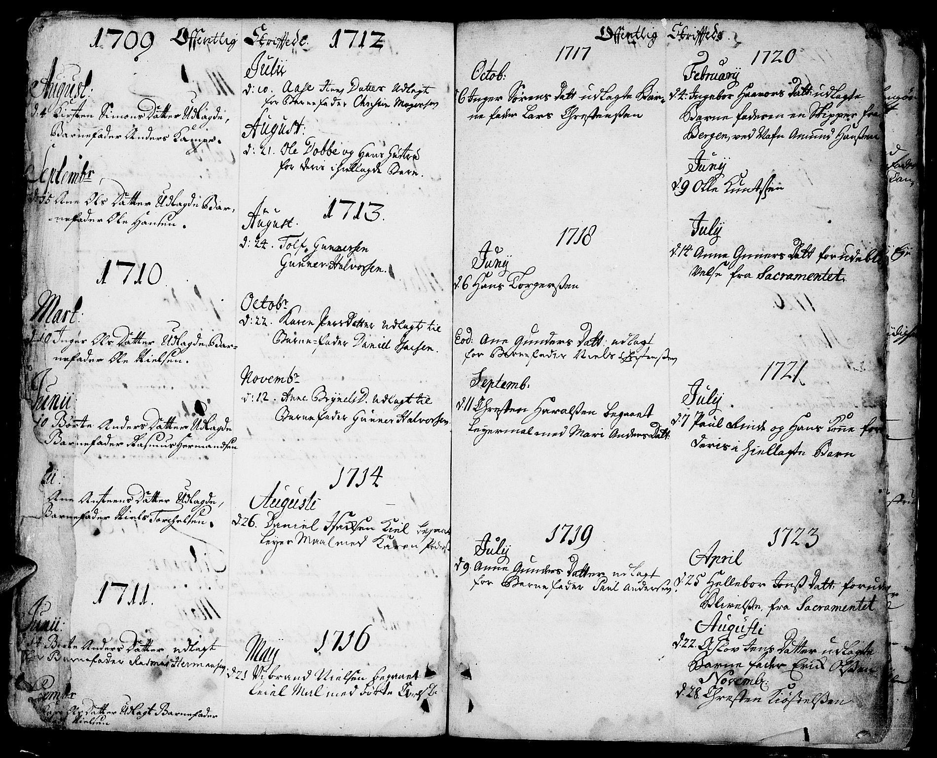 SAKO, Sannidal kirkebøker, F/Fa/L0001: Ministerialbok nr. 1, 1702-1766, s. 350-351