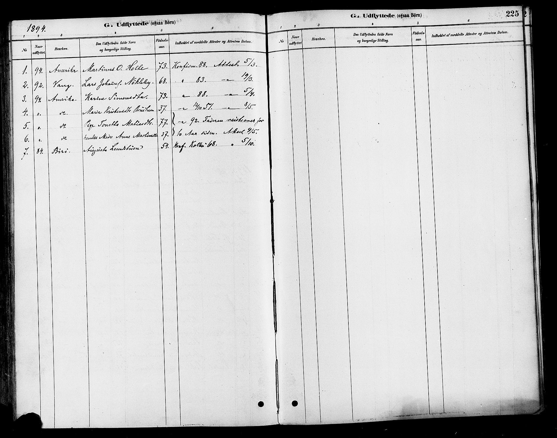 SAH, Vestre Toten prestekontor, H/Ha/Haa/L0010: Ministerialbok nr. 10, 1878-1894, s. 225
