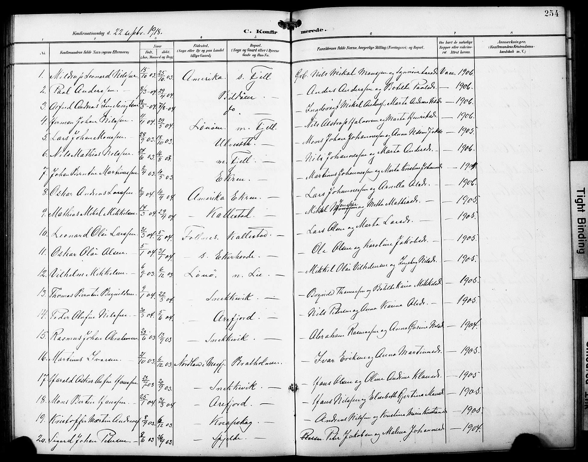 SAB, Fjell Sokneprestembete, H/Hab: Klokkerbok nr. A 5, 1899-1918, s. 254