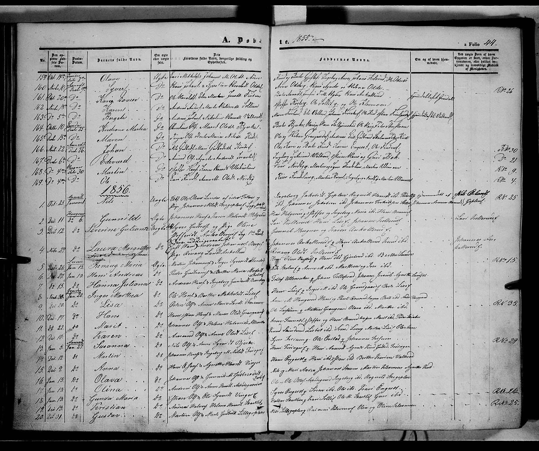 SAH, Land prestekontor, Ministerialbok nr. 10, 1847-1859, s. 44