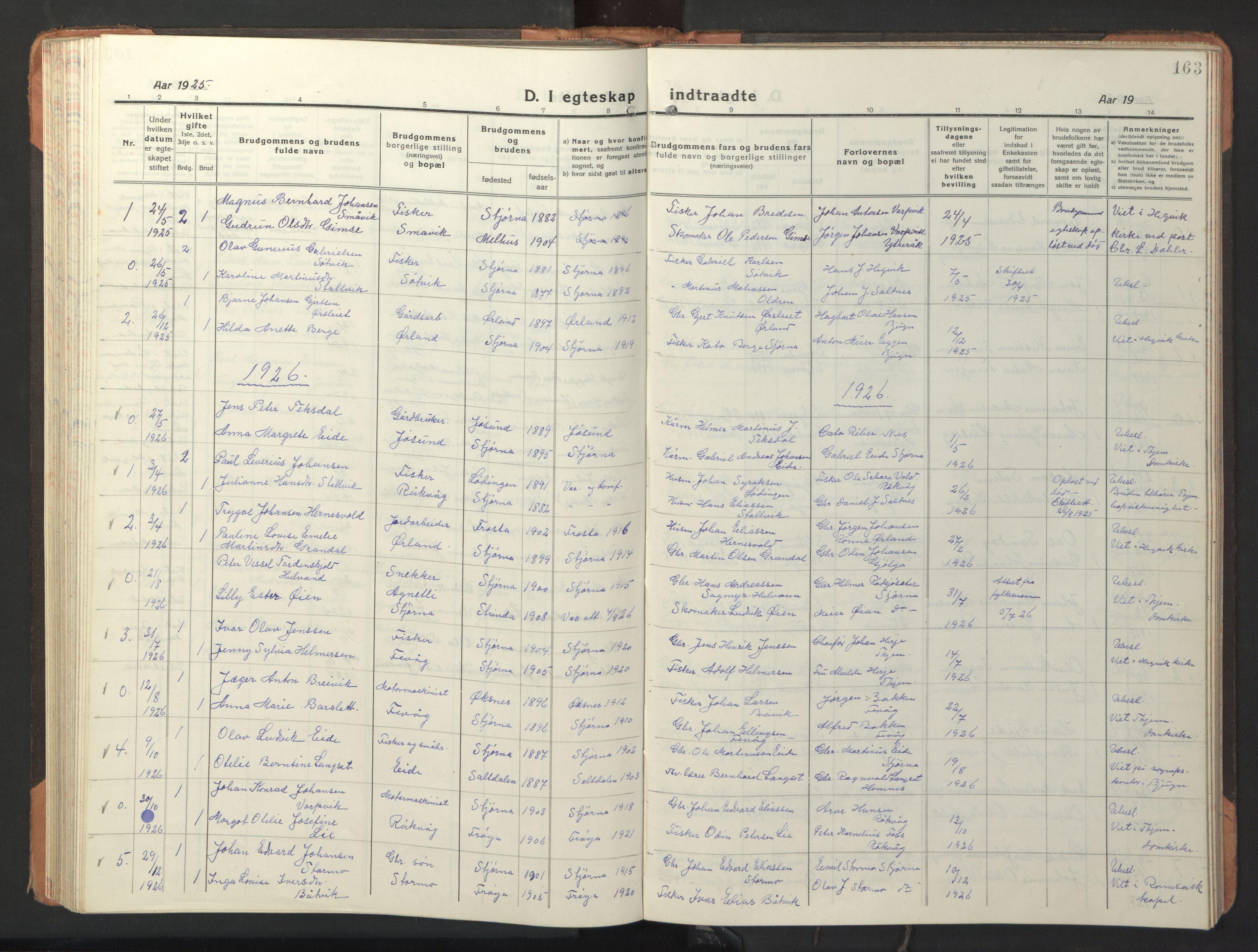 SAT, Ministerialprotokoller, klokkerbøker og fødselsregistre - Sør-Trøndelag, 653/L0658: Klokkerbok nr. 653C02, 1919-1947, s. 163
