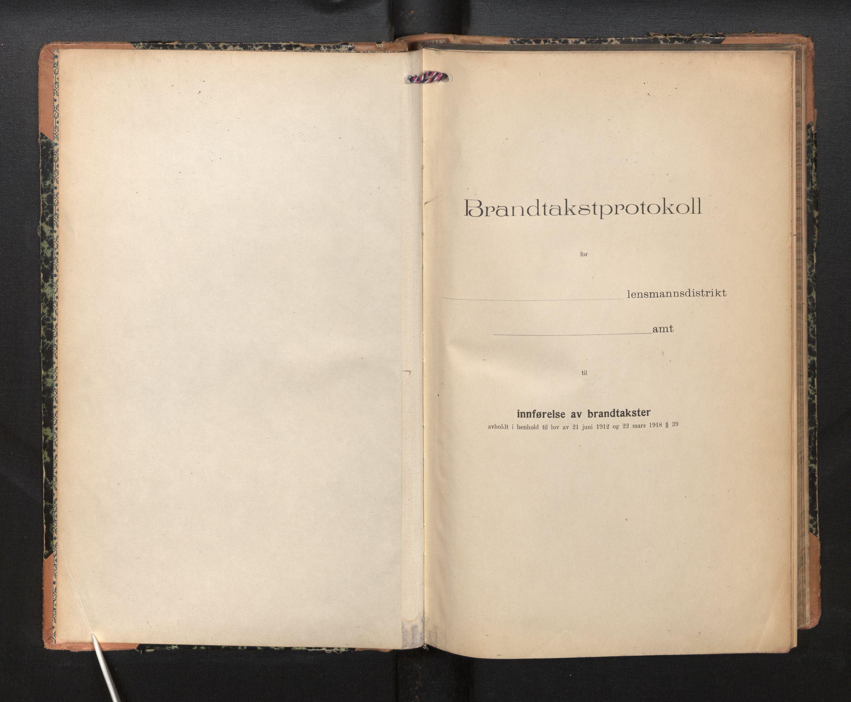 SAB, Lensmannen i Sogndal, 0012/L0012: Branntakstprotokoll, skjematakst, 1922-1931