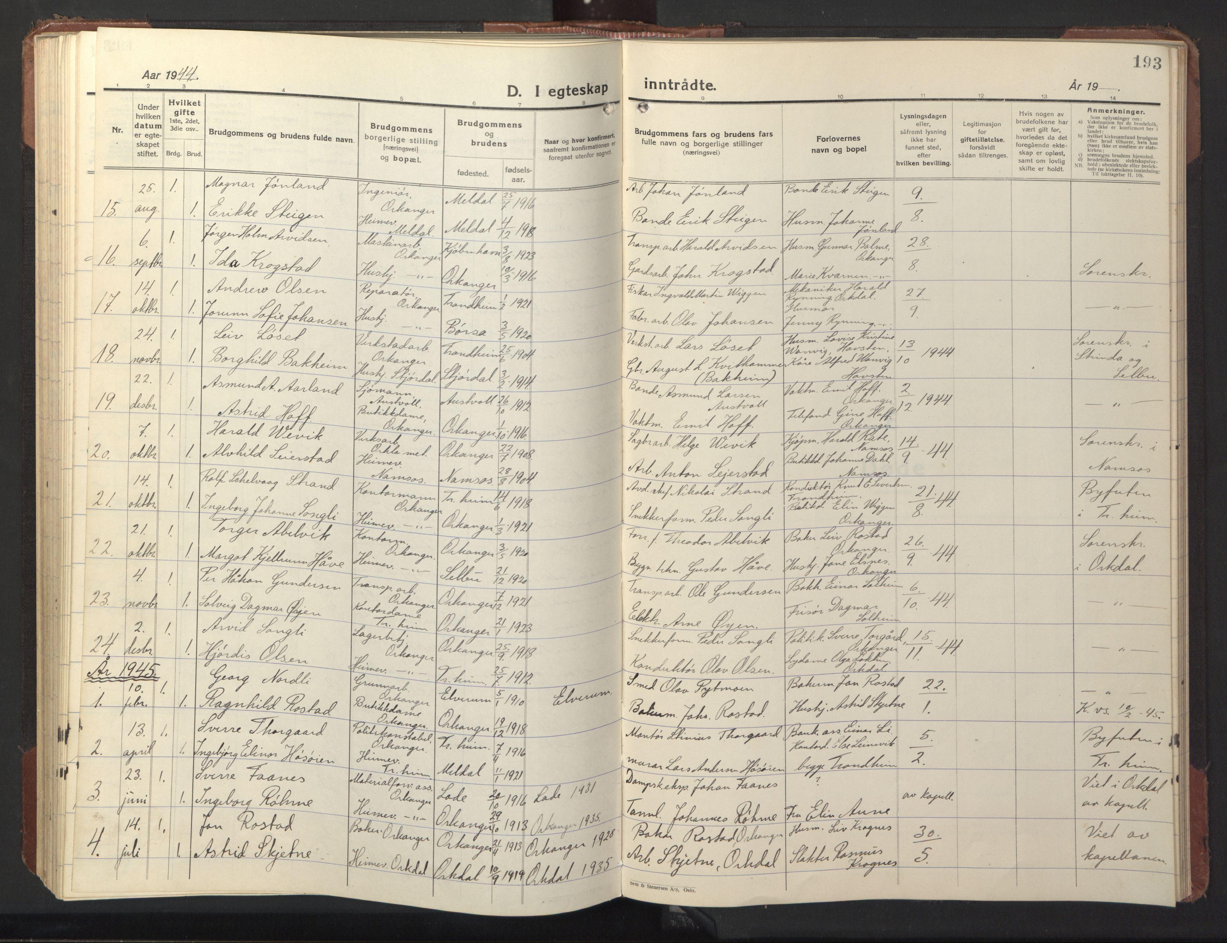 SAT, Ministerialprotokoller, klokkerbøker og fødselsregistre - Sør-Trøndelag, 669/L0832: Klokkerbok nr. 669C02, 1925-1953, s. 193